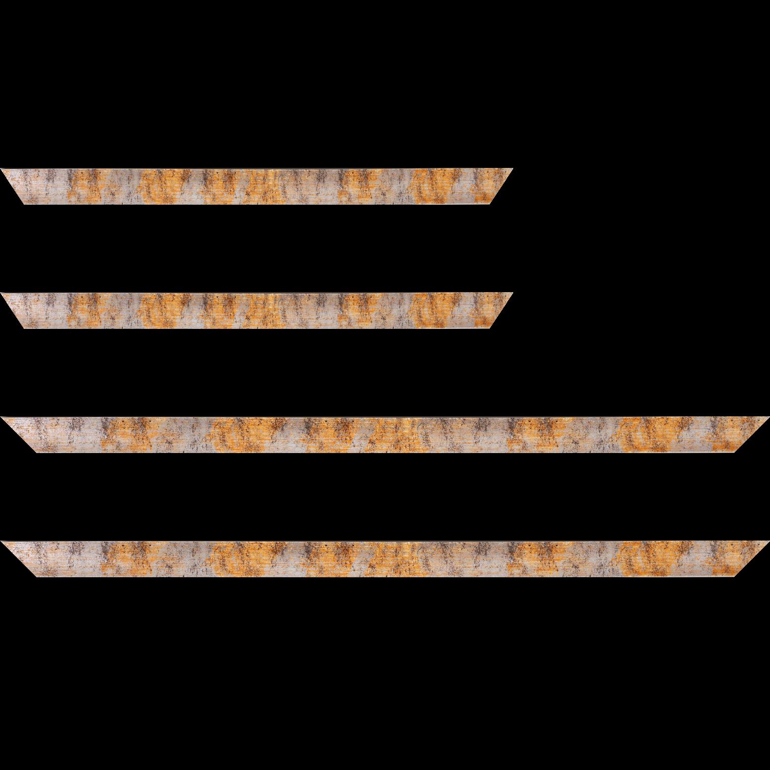 Baguette service précoupé Bois profil concave largeur 2.4cm de couleur orange moucheté fond argent