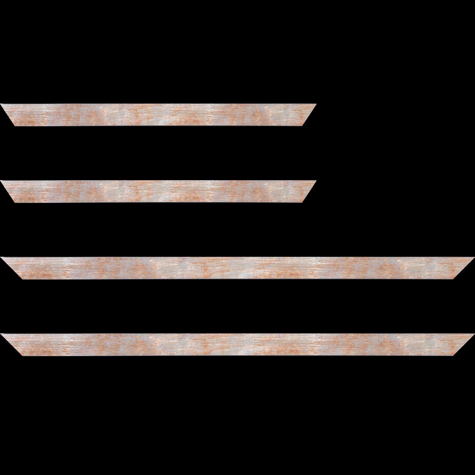 Baguette service précoupé Bois profil concave largeur 2.4cm de couleur rouge pale fond argent
