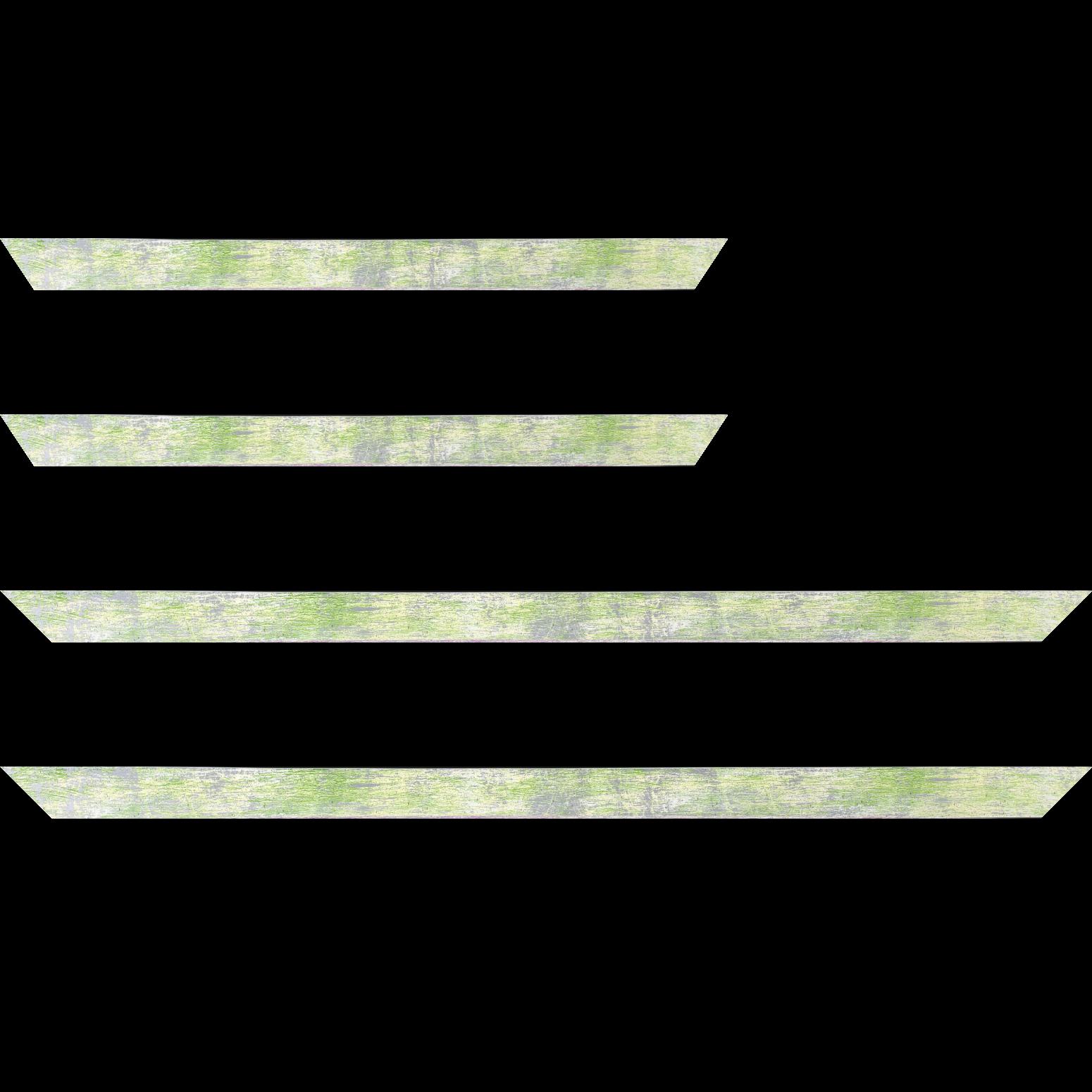 Baguette service précoupé Bois profil concave largeur 2.4cm de couleur vert pale fond argent