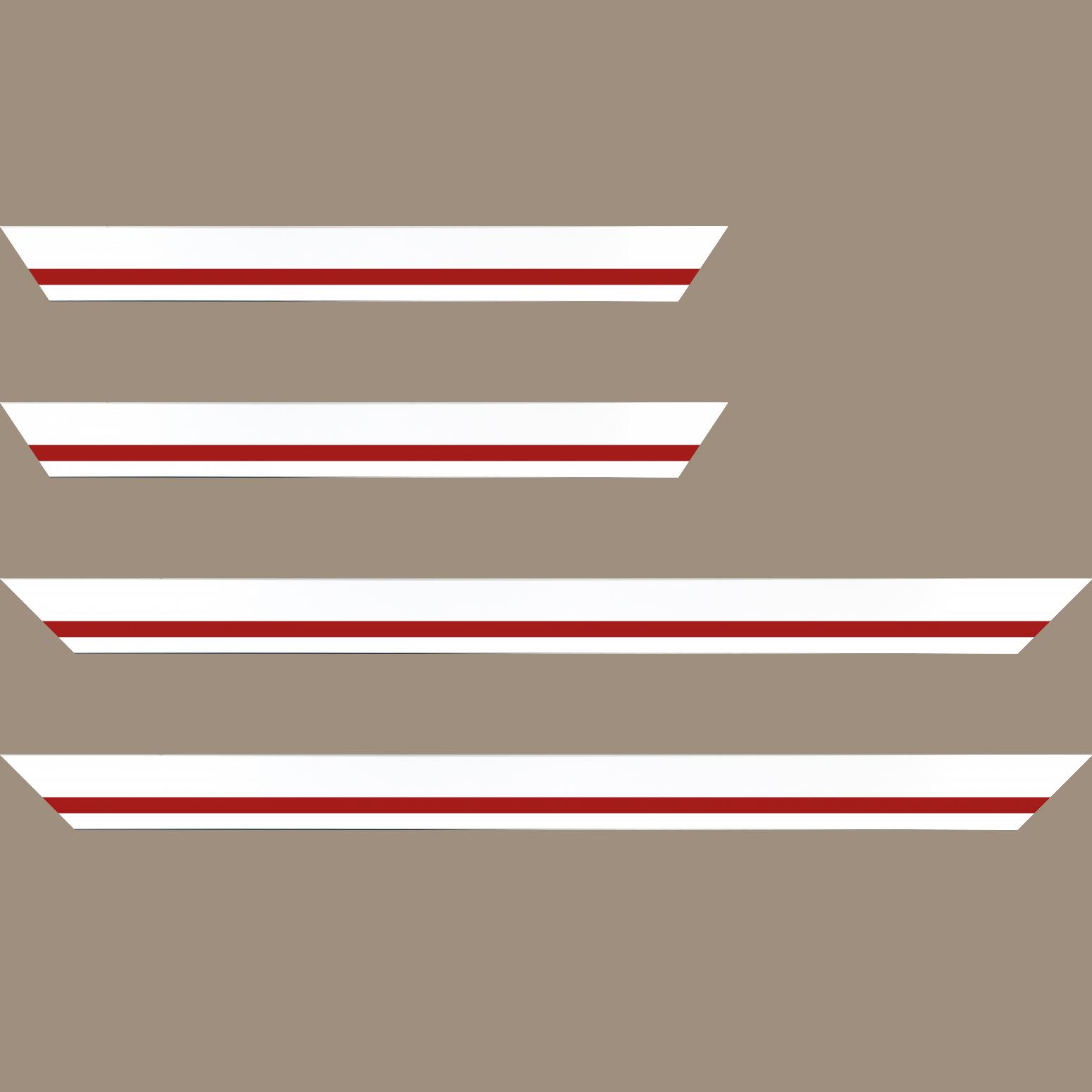 Baguette service précoupé Bois profil pente largeur 4.5cm de couleur blanc mat filet rouge