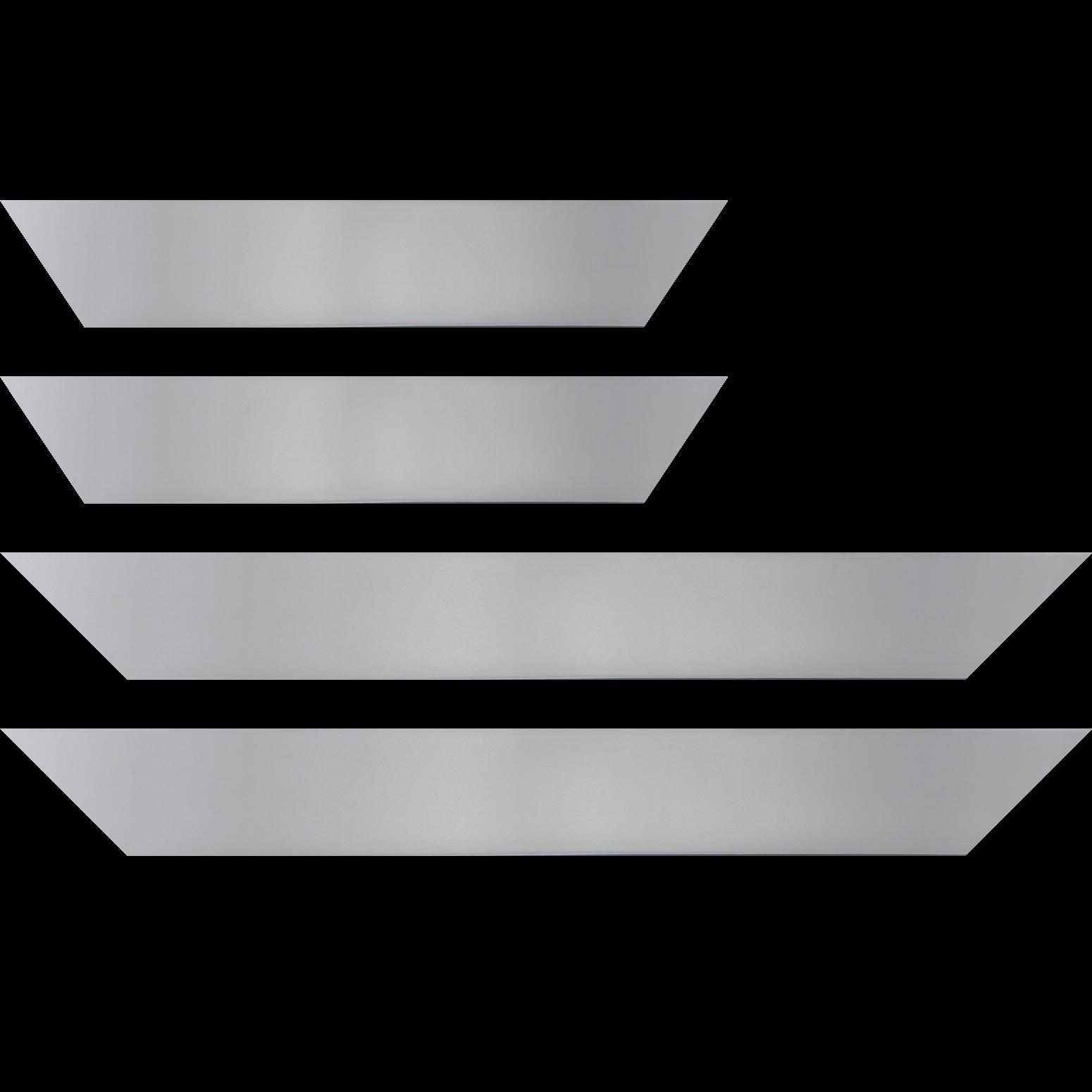 Baguette service précoupé Bois recouvert aluminium profil plat largeur 6cm argent brossé bord droit