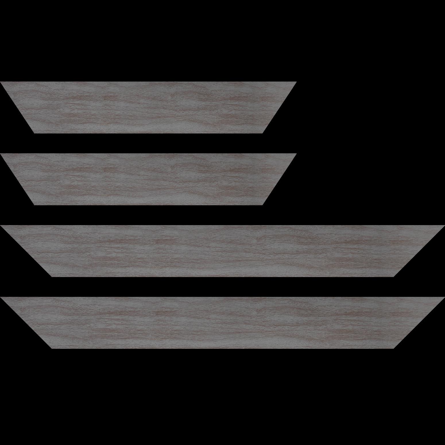 Baguette service précoupé Bois profil plat largeur 6cm gris satiné effet veiné ,chant extérieur du cadre de couleur noire