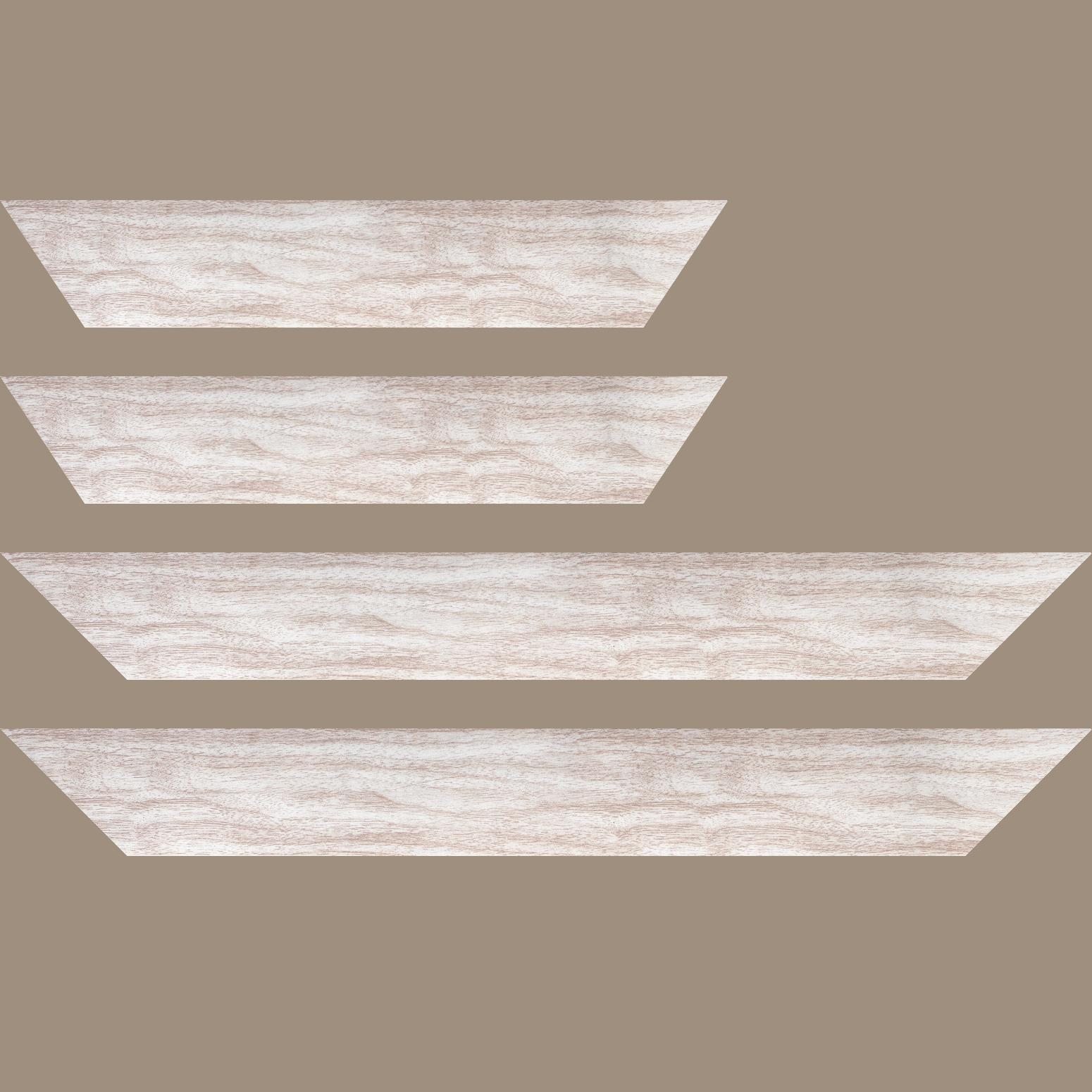Baguette service précoupé Bois profil plat largeur 6cm blanc satiné effet veiné ,chant extérieur du cadre de couleur noire