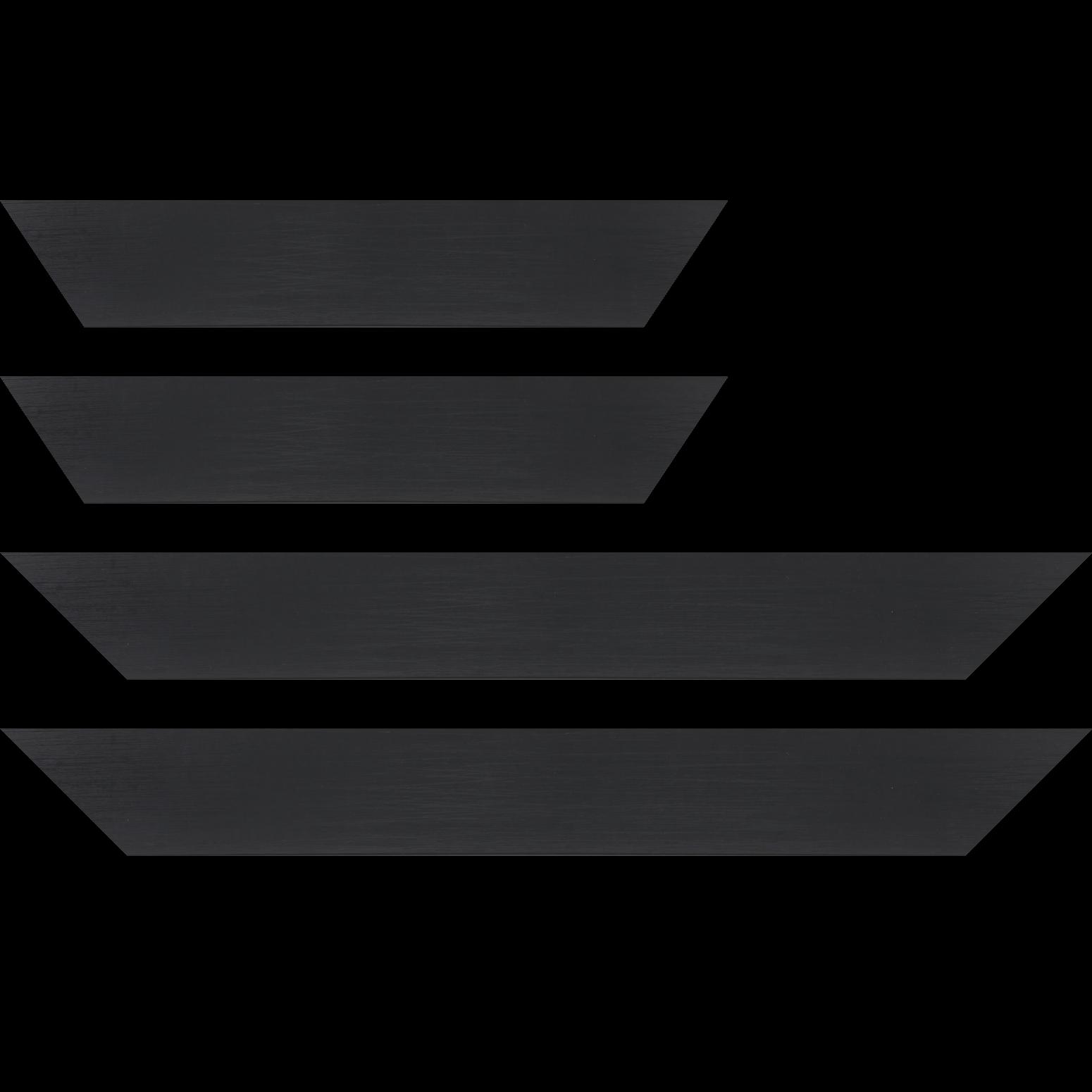 Baguette service précoupé Bois profil plat largeur 6cm noir satiné effet veiné