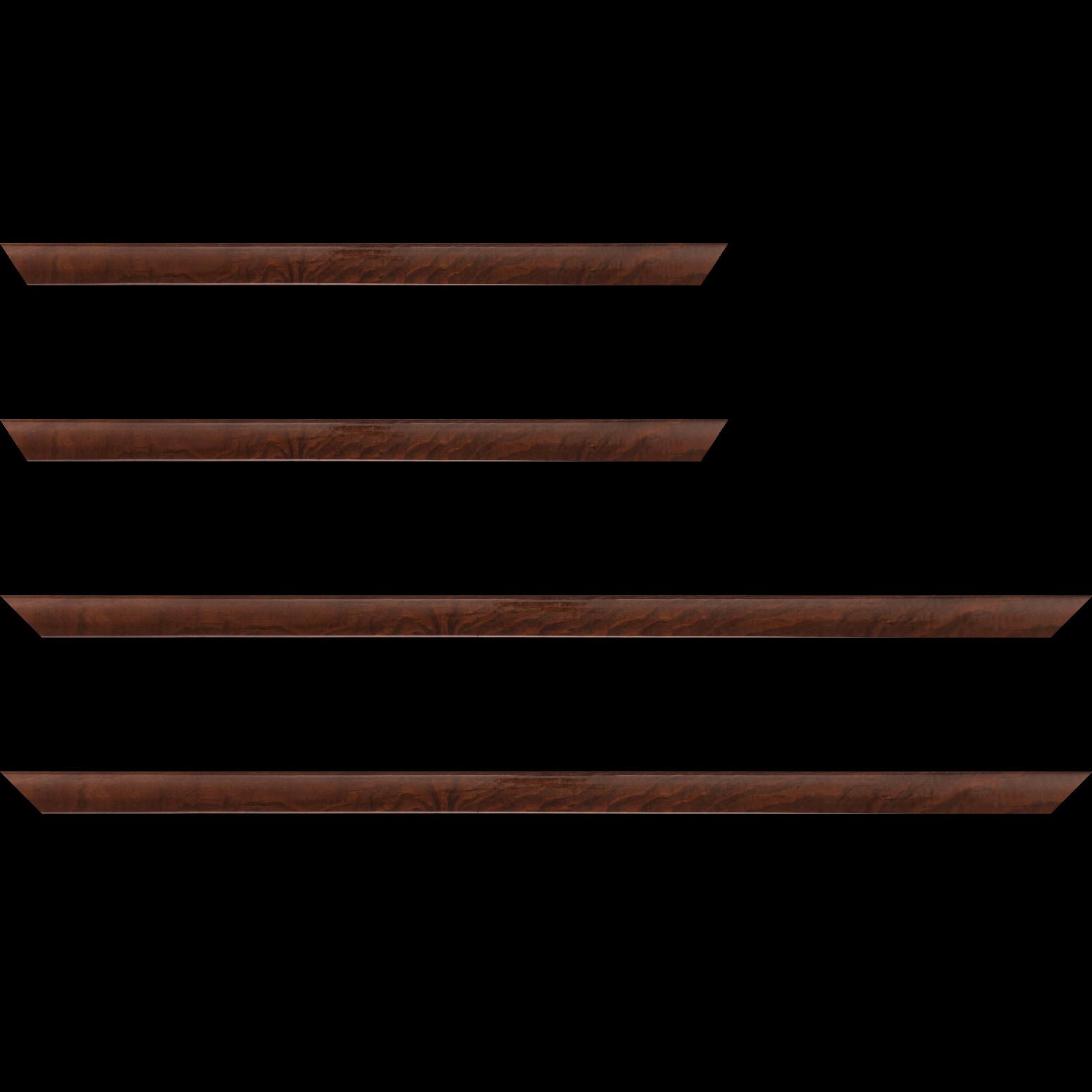Baguette service précoupé Bois profil arrondi plongeant largeur 2cm couleur marron vernis sur pin (veine du bois apparent)