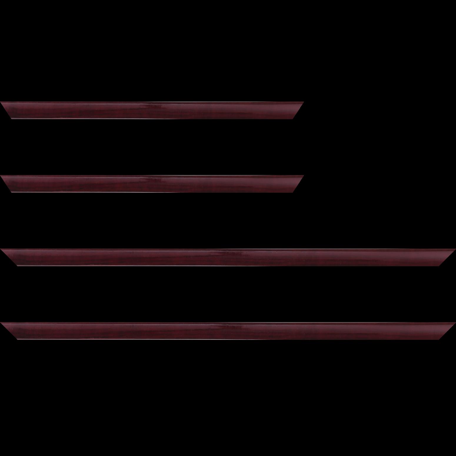 Baguette service précoupé Bois profil arrondi plongeant largeur 2cm couleur bordeaux vernis sur pin (veine du bois apparent)