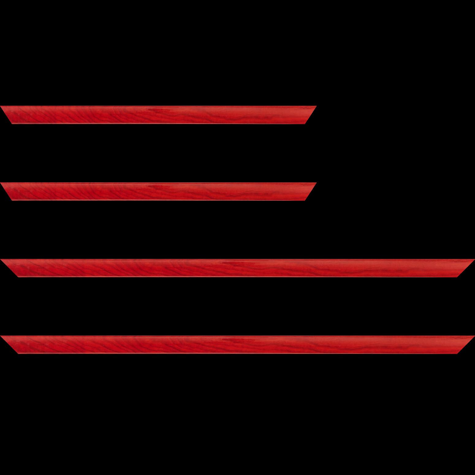 Baguette service précoupé Bois profil arrondi plongeant largeur 2cm couleur rouge vernis sur pin (veine du bois apparent)