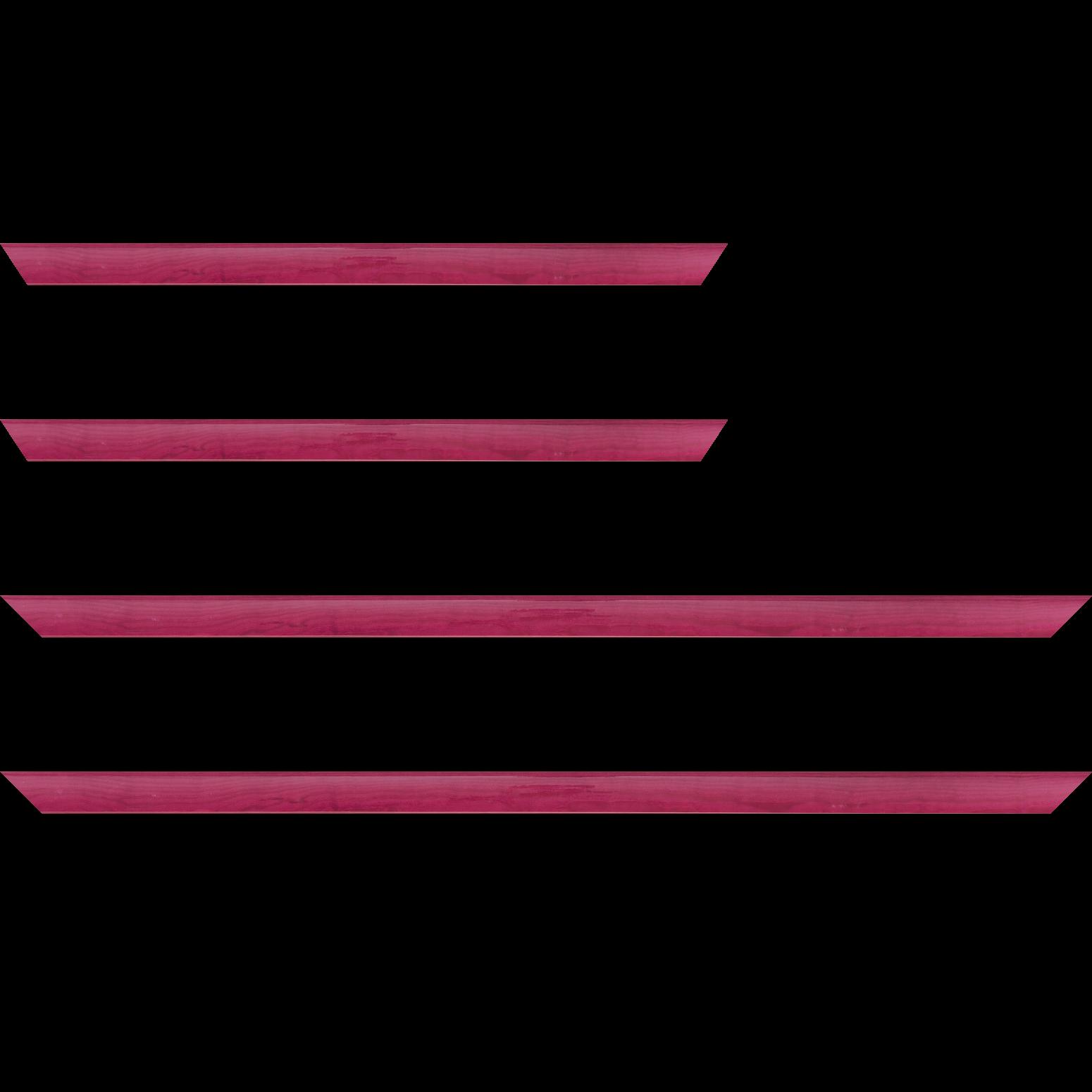 Baguette service précoupé Bois profil arrondi plongeant largeur 2cm couleur rose fushia vernis sur pin (veine du bois apparent)