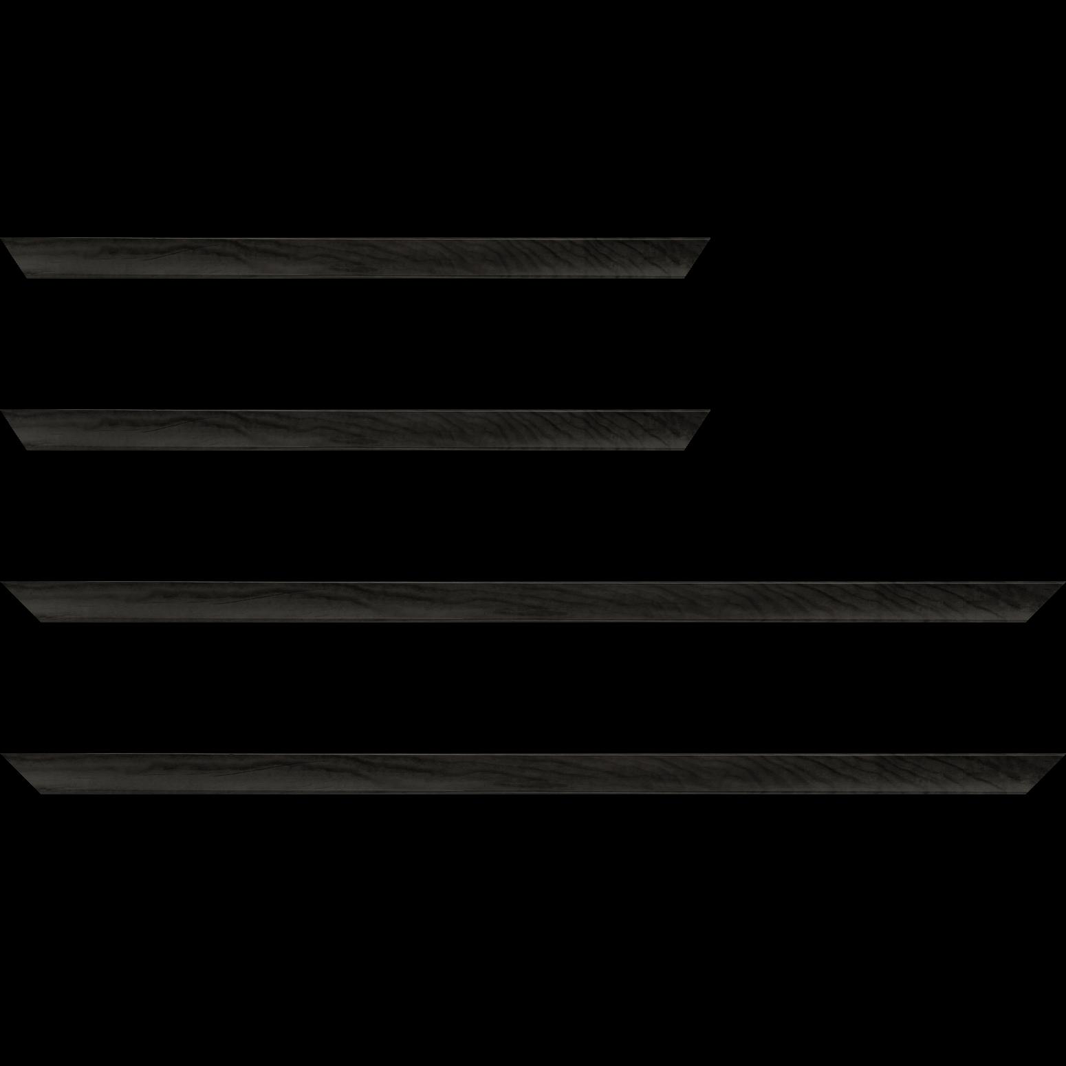 Baguette service précoupé Bois profil arrondi plongeant largeur 2cm couleur gris foncé vernis sur pin (veine du bois apparent)