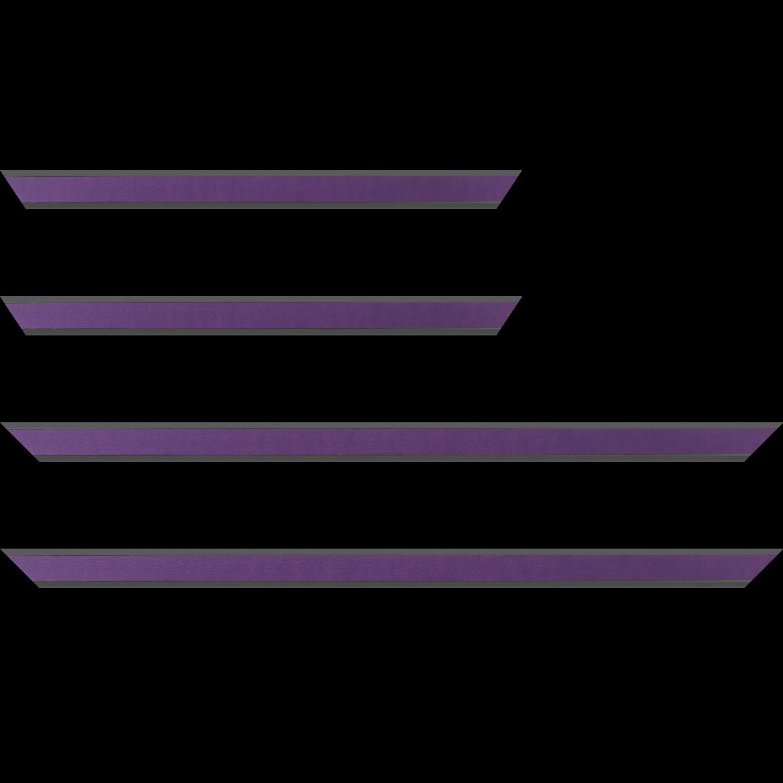 Baguette service précoupé Bois essence marupa profil plat largeur 2.5cm plaquage érable teinté violet,  filet intérieur et extérieur gris foncé