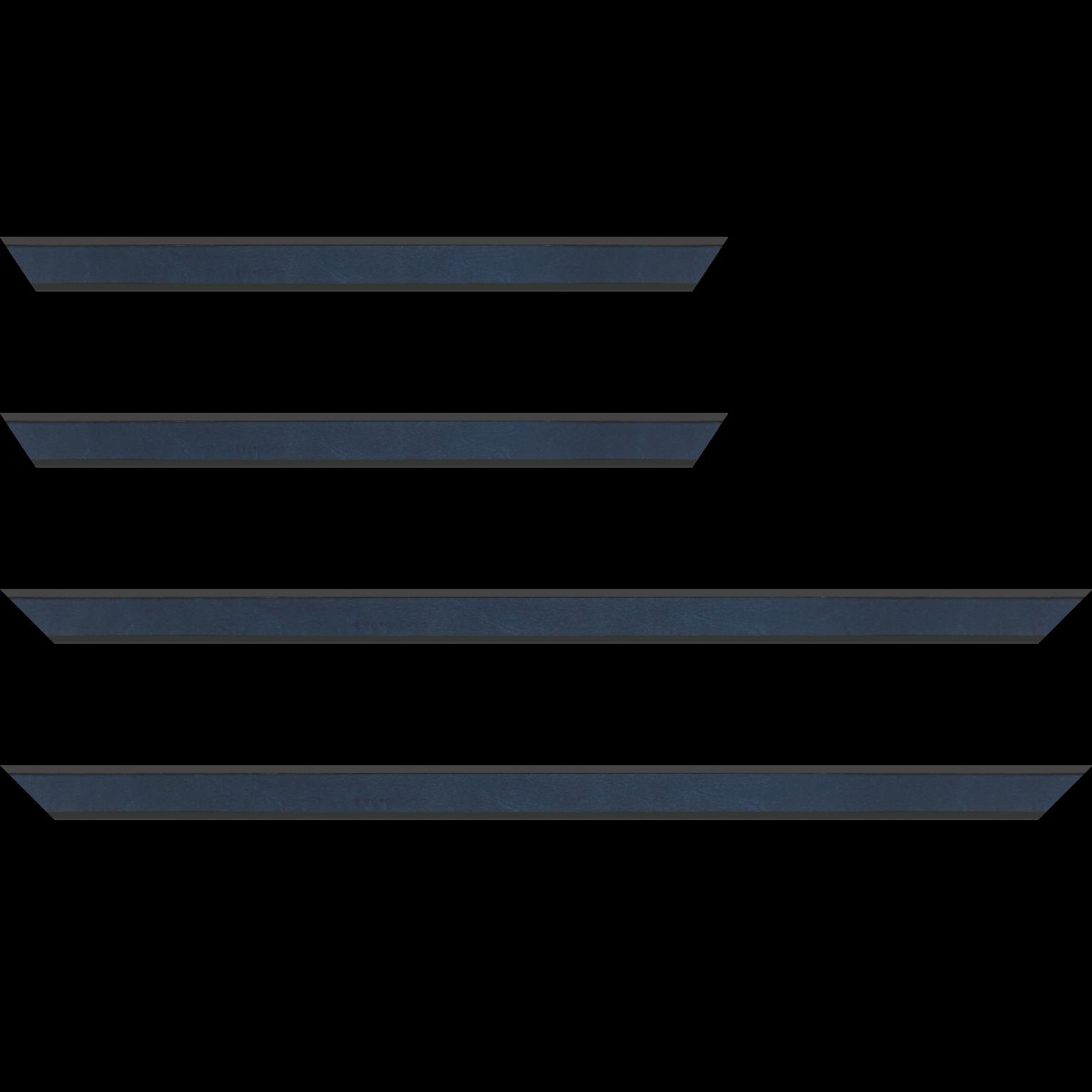 Baguette service précoupé Bois essence marupa profil plat largeur 2.5cm plaquage érable teinté bleu foncé, filet intérieur et extérieur gris foncé