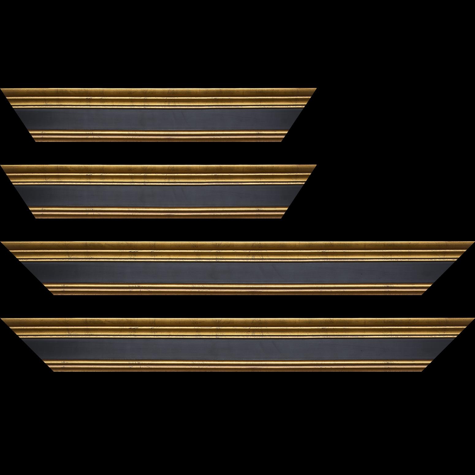 Baguette service précoupé Bois profil braque largeur 5.2cm or patiné gorge noire antique