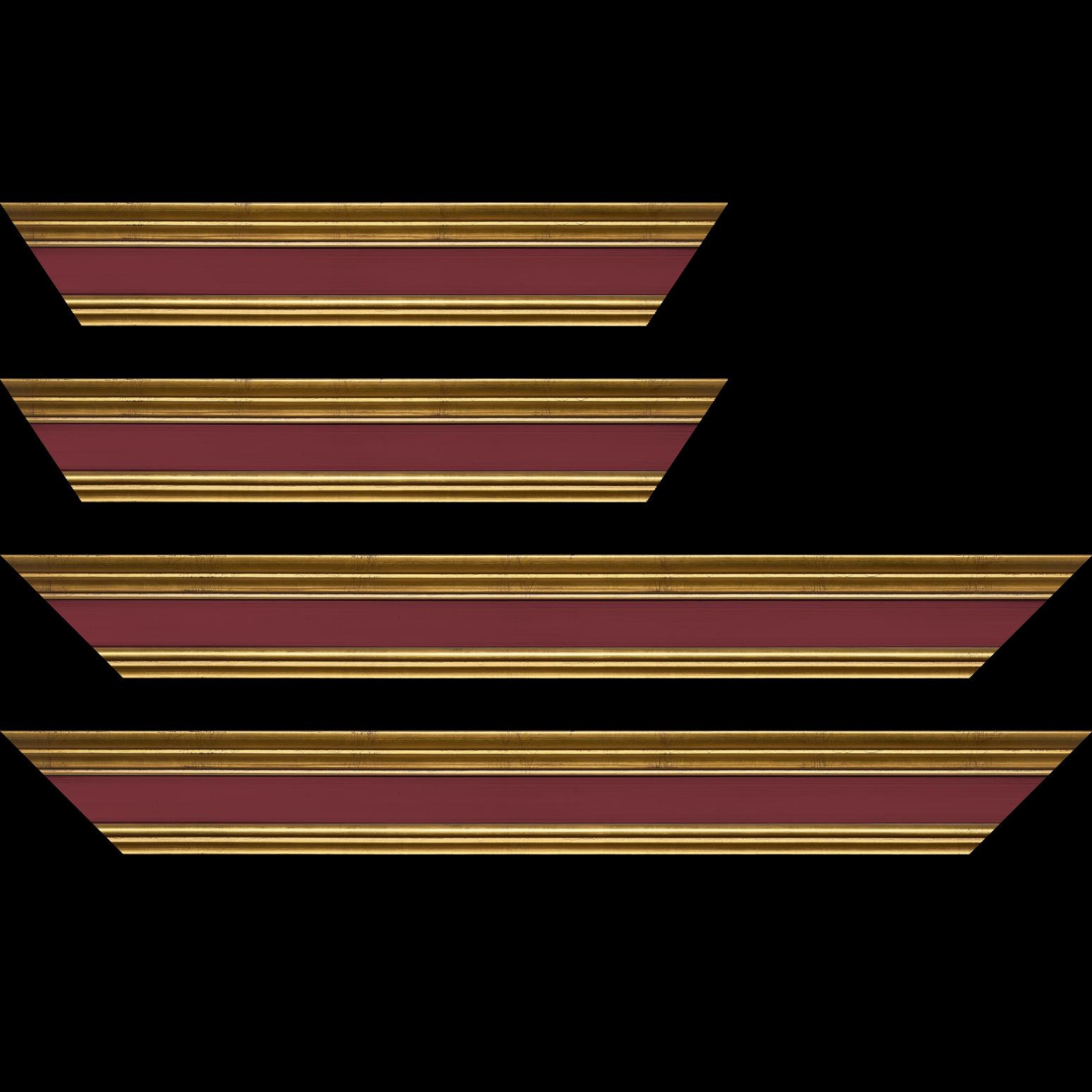 Baguette service précoupé Bois profil braque largeur 5.2cm or patiné gorge bordeaux antique