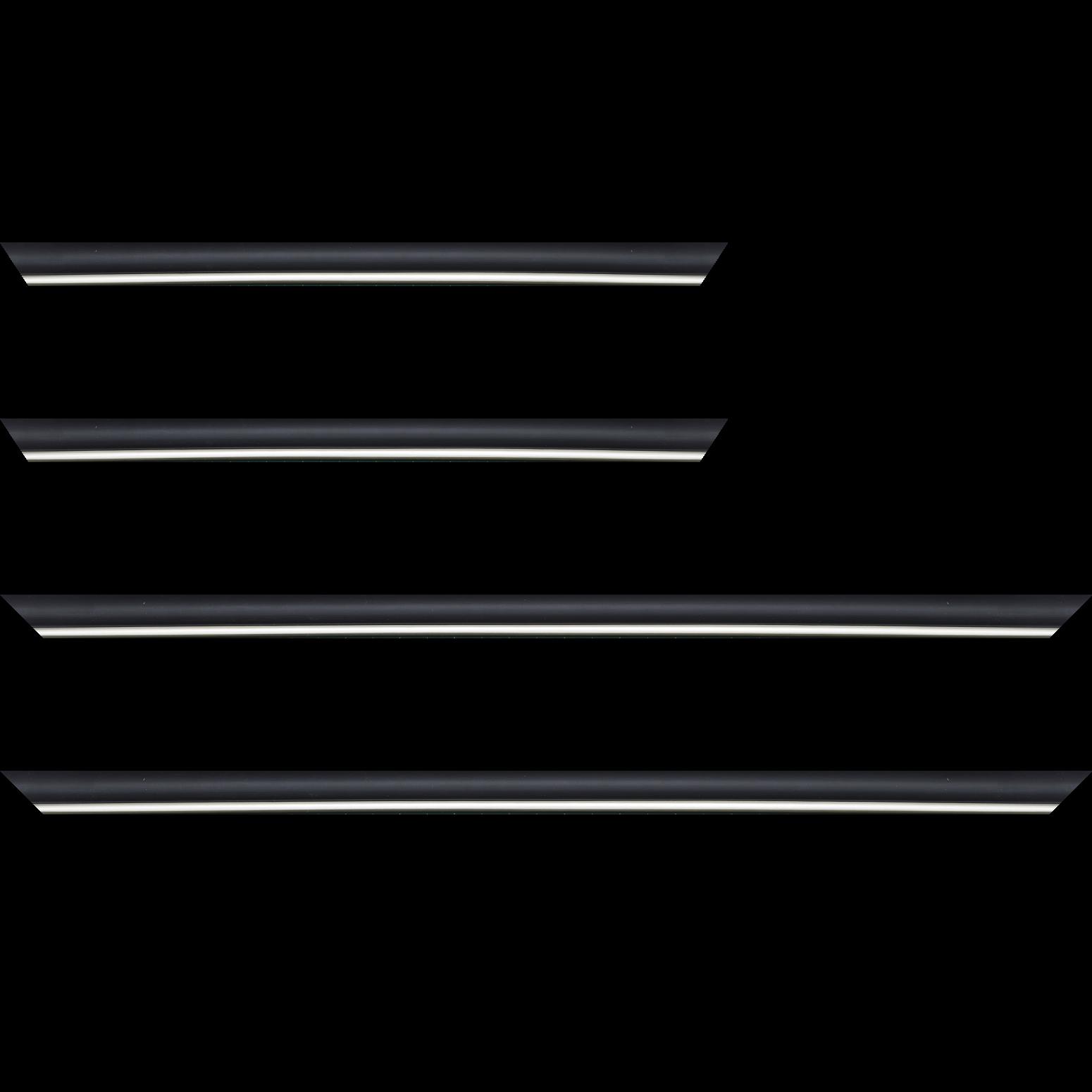 Baguette service précoupé Bois profil arrondi largeur 2.1cm couleur noir mat filet argent