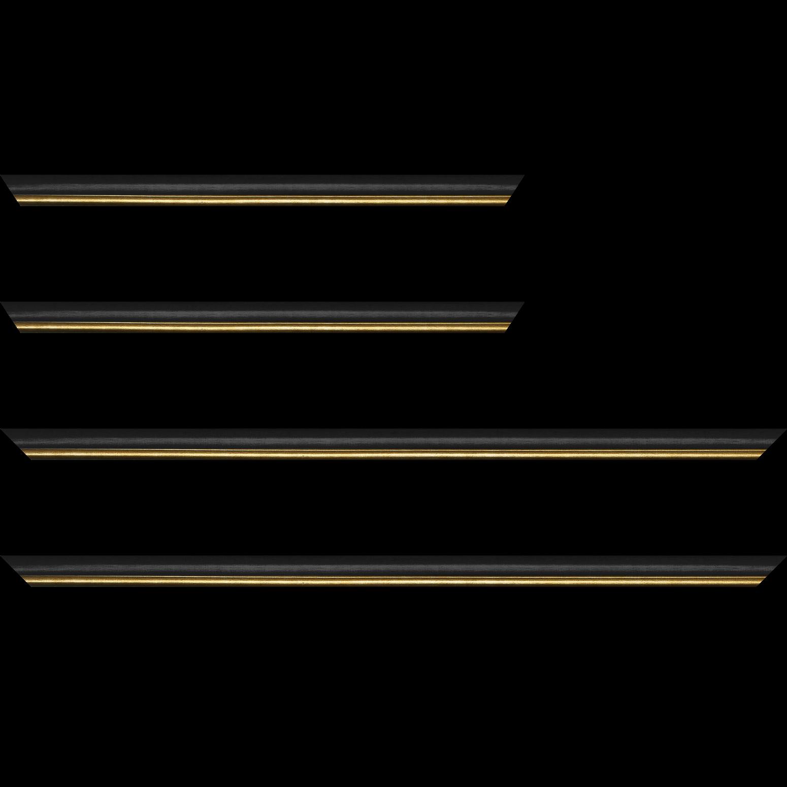 Baguette service précoupé Bois profil arrondi largeur 2.1cm couleur noir mat filet or