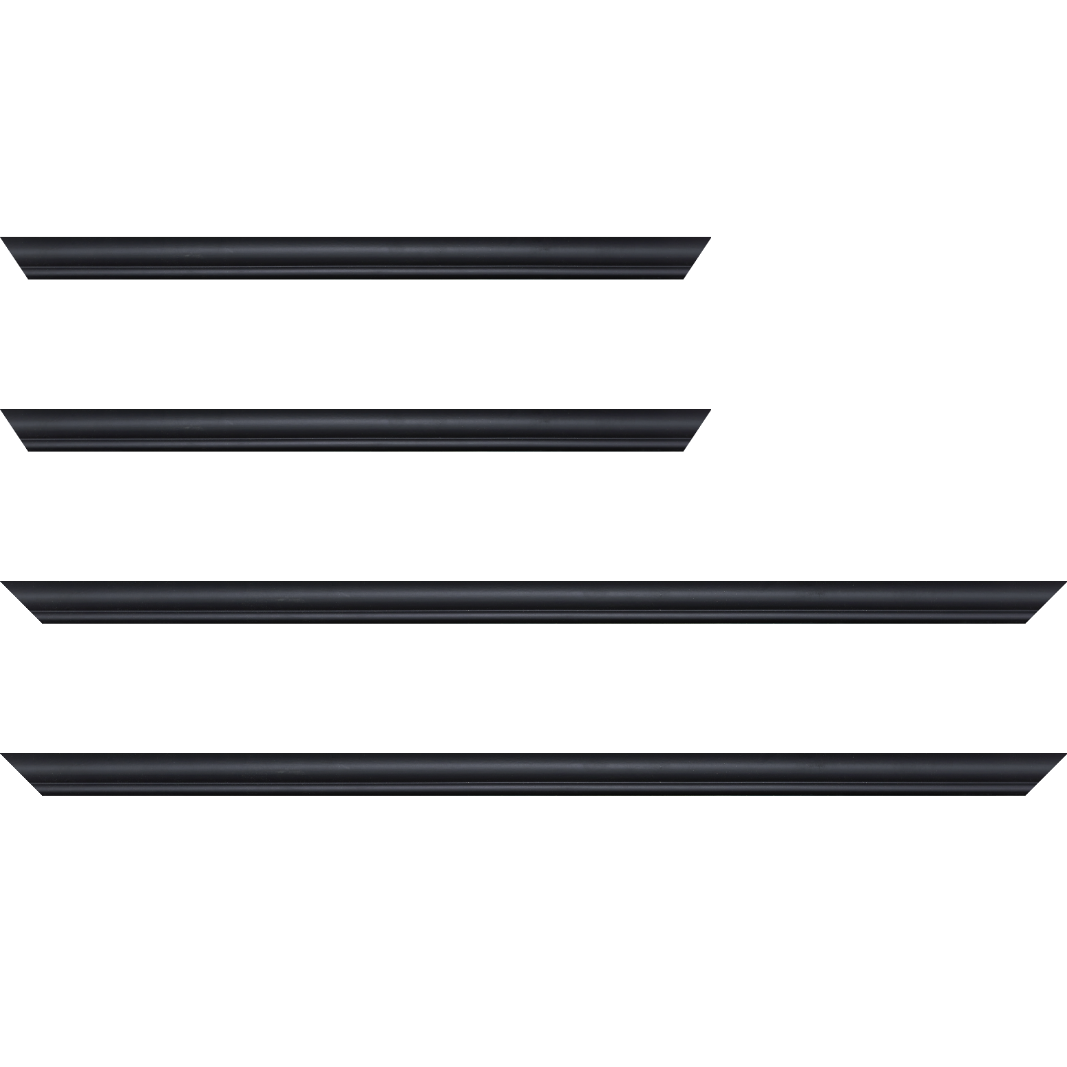 Baguette service précoupé Bois profil arrondi largeur 2.1cm couleur noir mat filet noir