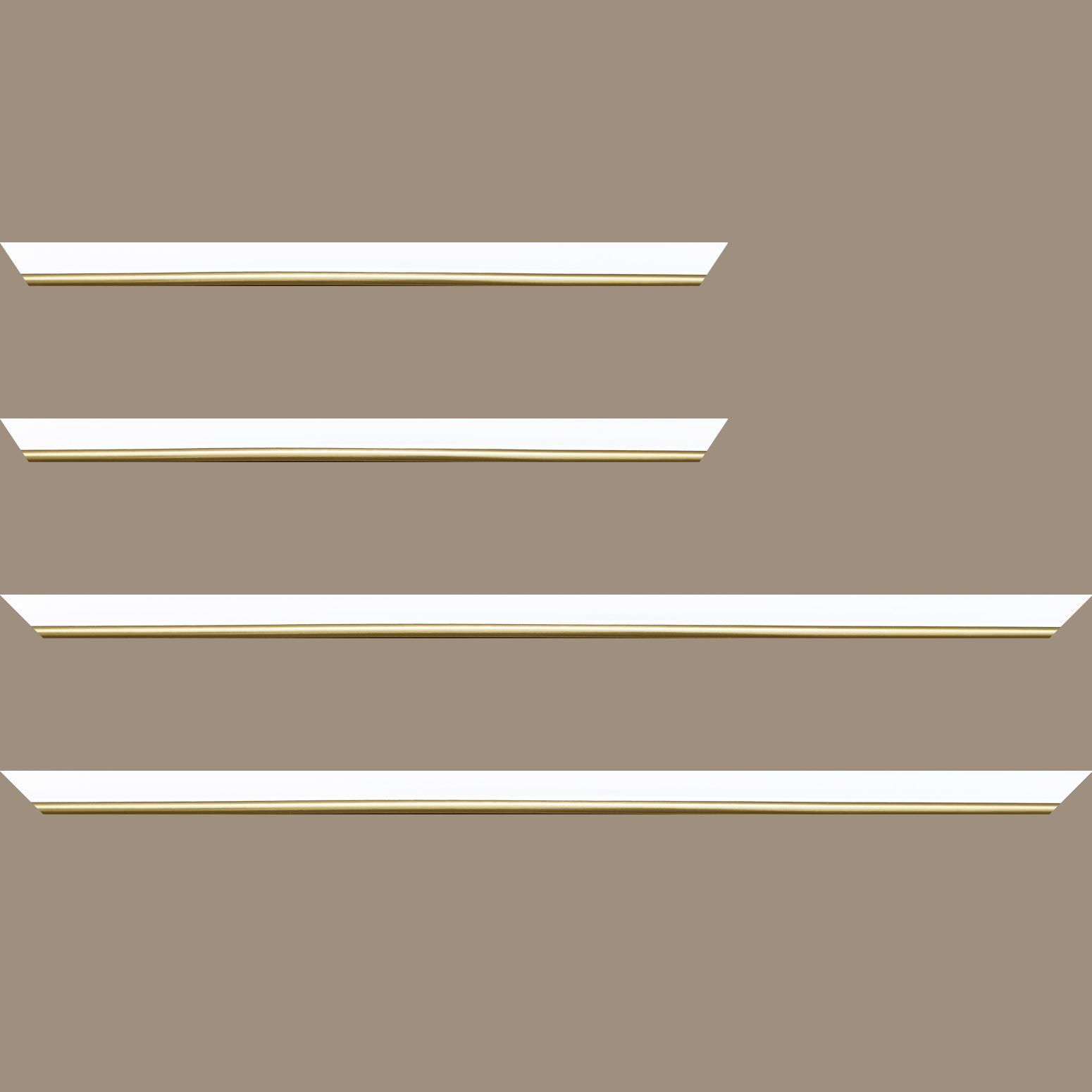 Baguette service précoupé Bois profil arrondi largeur 2.1cm couleur blanc mat filet or