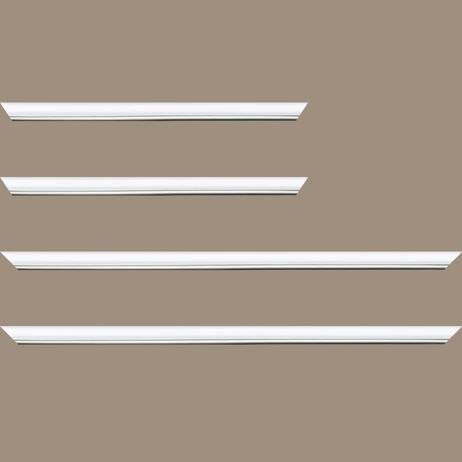 Baguette service précoupé Bois profil arrondi largeur 2.1cm couleur blanc mat filet argent