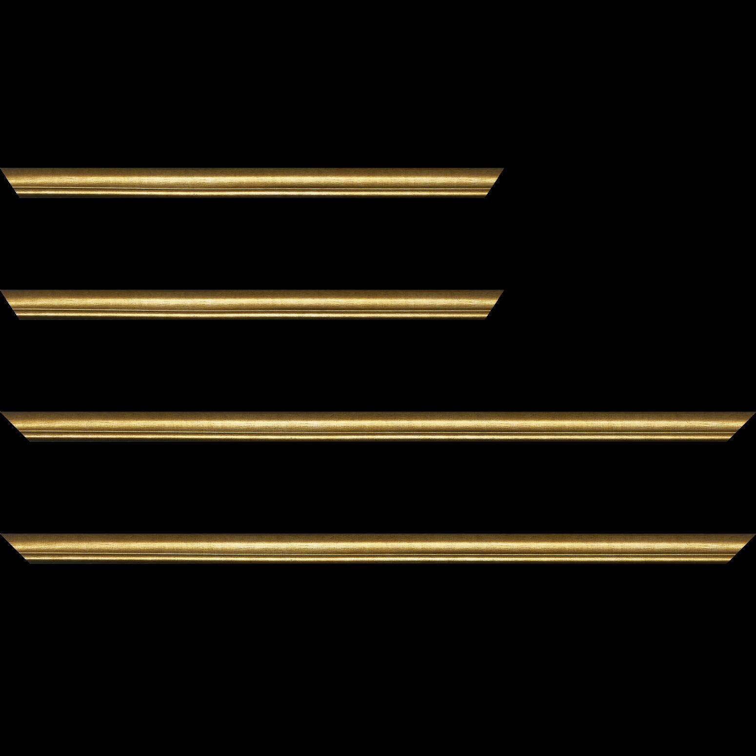 Baguette service précoupé Bois profil arrondi largeur 2.1cm couleur or filet or