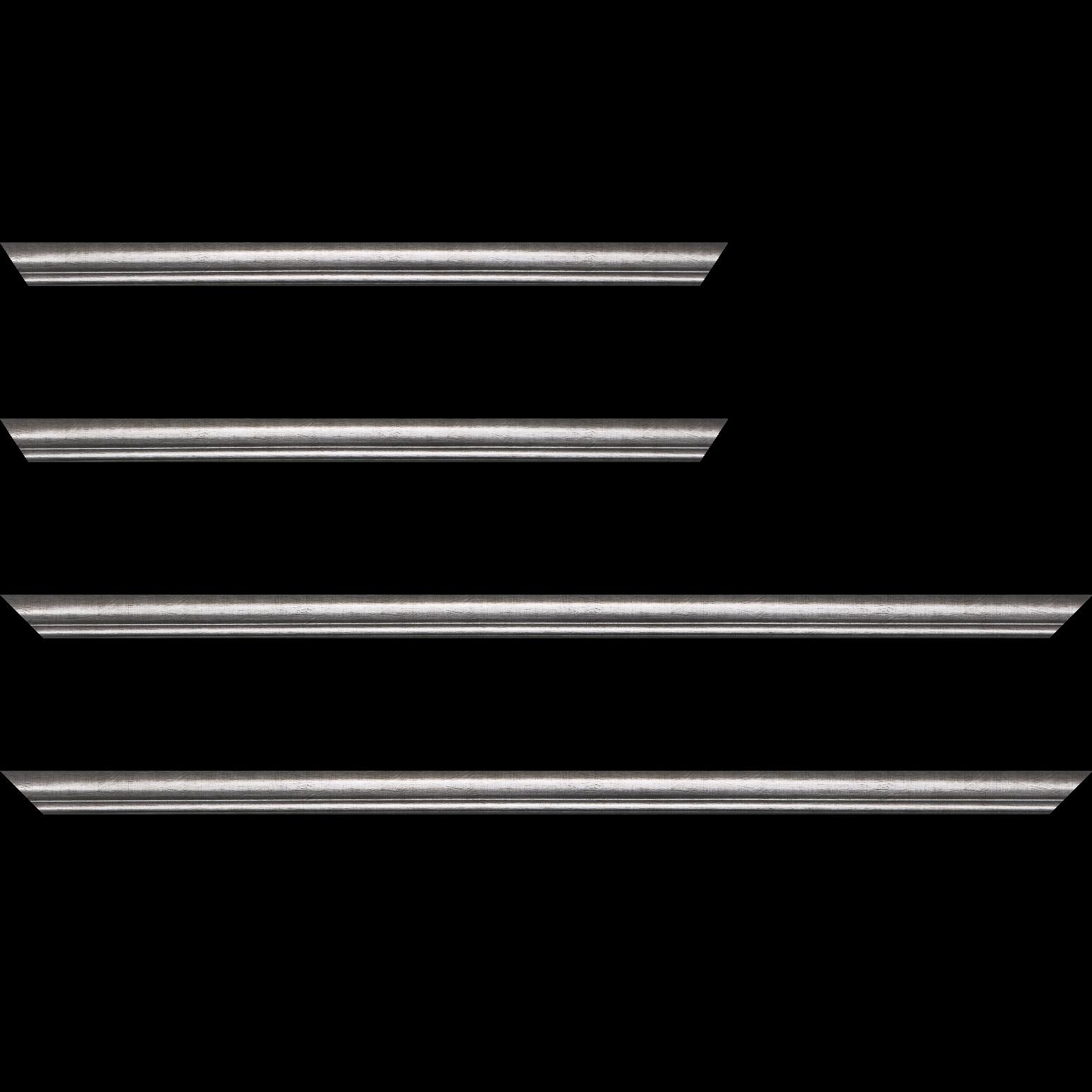 Baguette service précoupé Bois profil arrondi largeur 2.1cm couleur plomb filet plomb