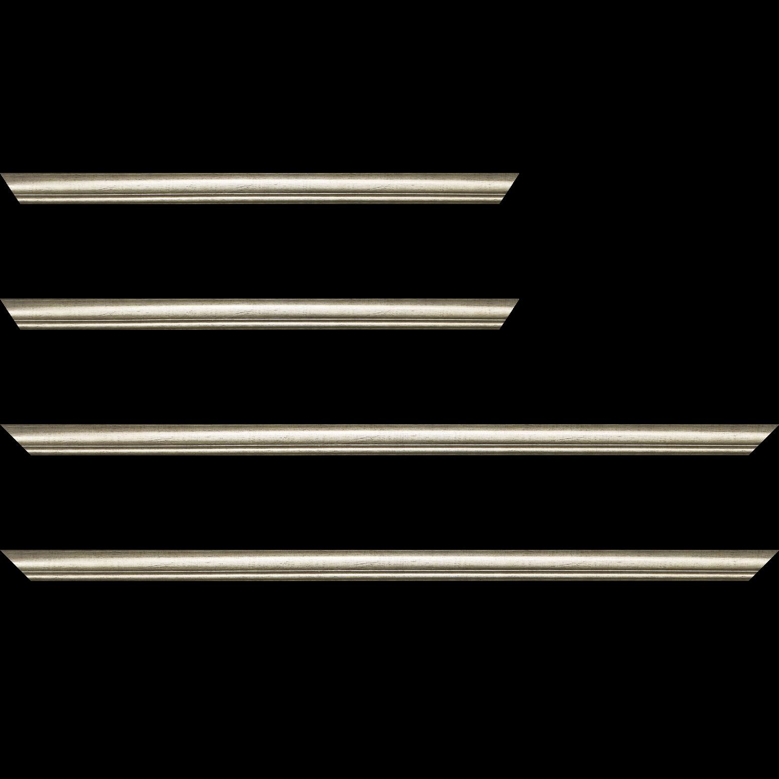 Baguette service précoupé Bois profil arrondi largeur 2.1cm couleur champagne filet champagne