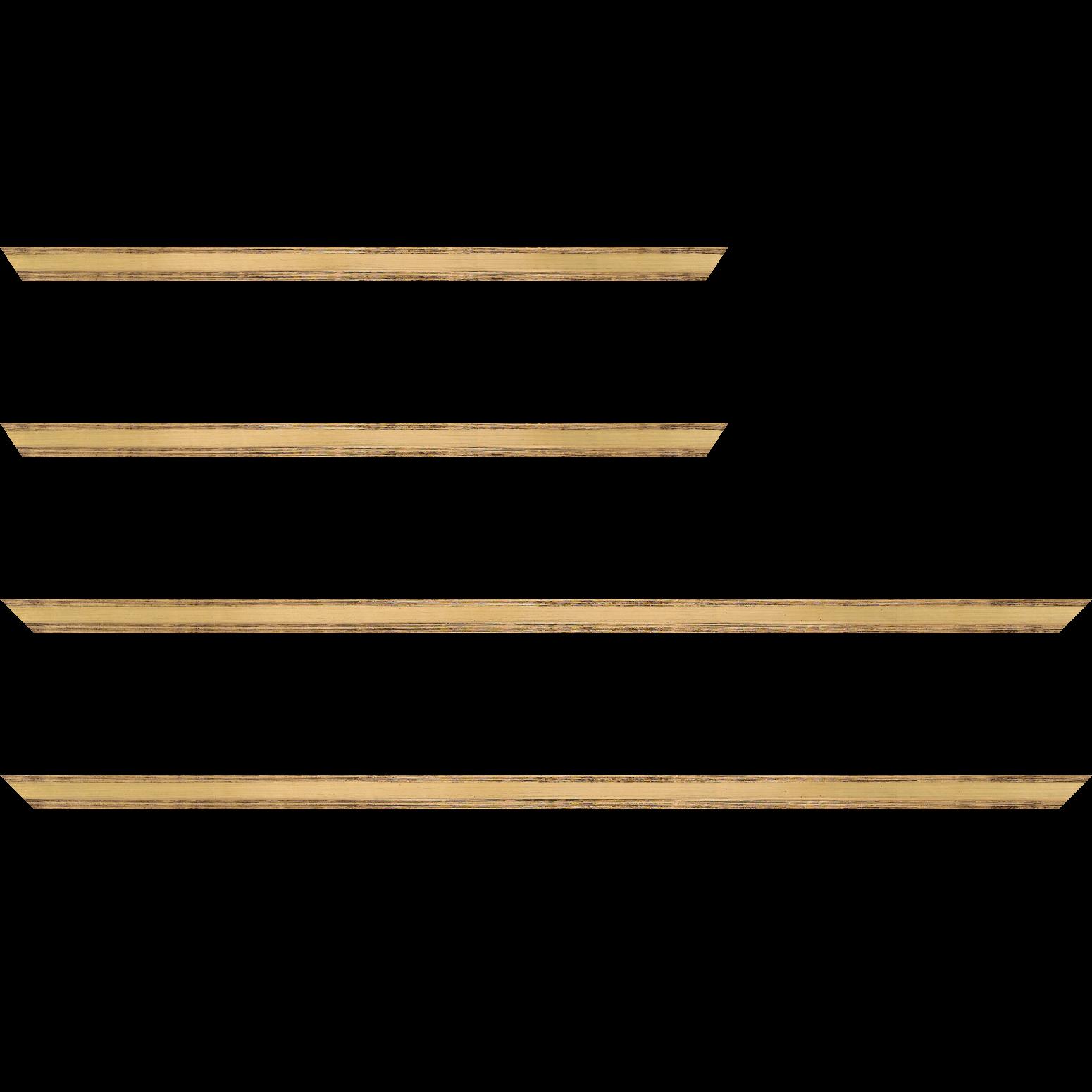 Baguette service précoupé Bois profil plat en pente largeur 1.4cm couleur or coté extérieur foncé. finition haut de gamme car dorure à l'eau fait main