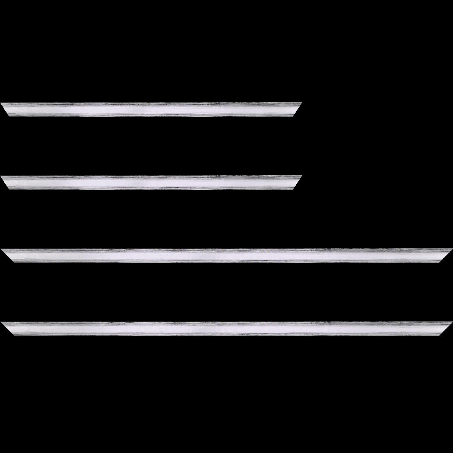 Baguette service précoupé Bois profil plat en pente largeur 1.4cm couleur argent coté extérieur foncé. finition haut de gamme car dorure à l'eau fait main