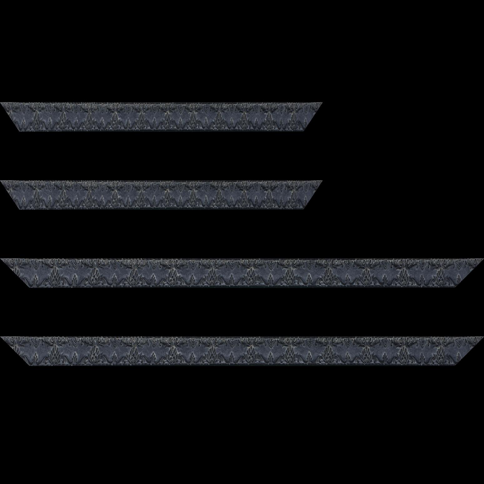 Baguette service précoupé Bois profil incurvé largeur 3cm couleur noir antique décor ancien