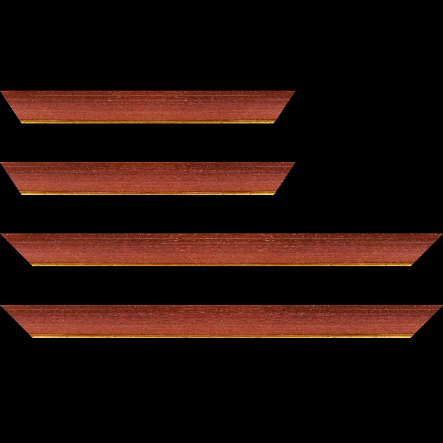 Baguette service précoupé Bois profil incurvé largeur 3.9cm couleur rouge cerise satiné filet or