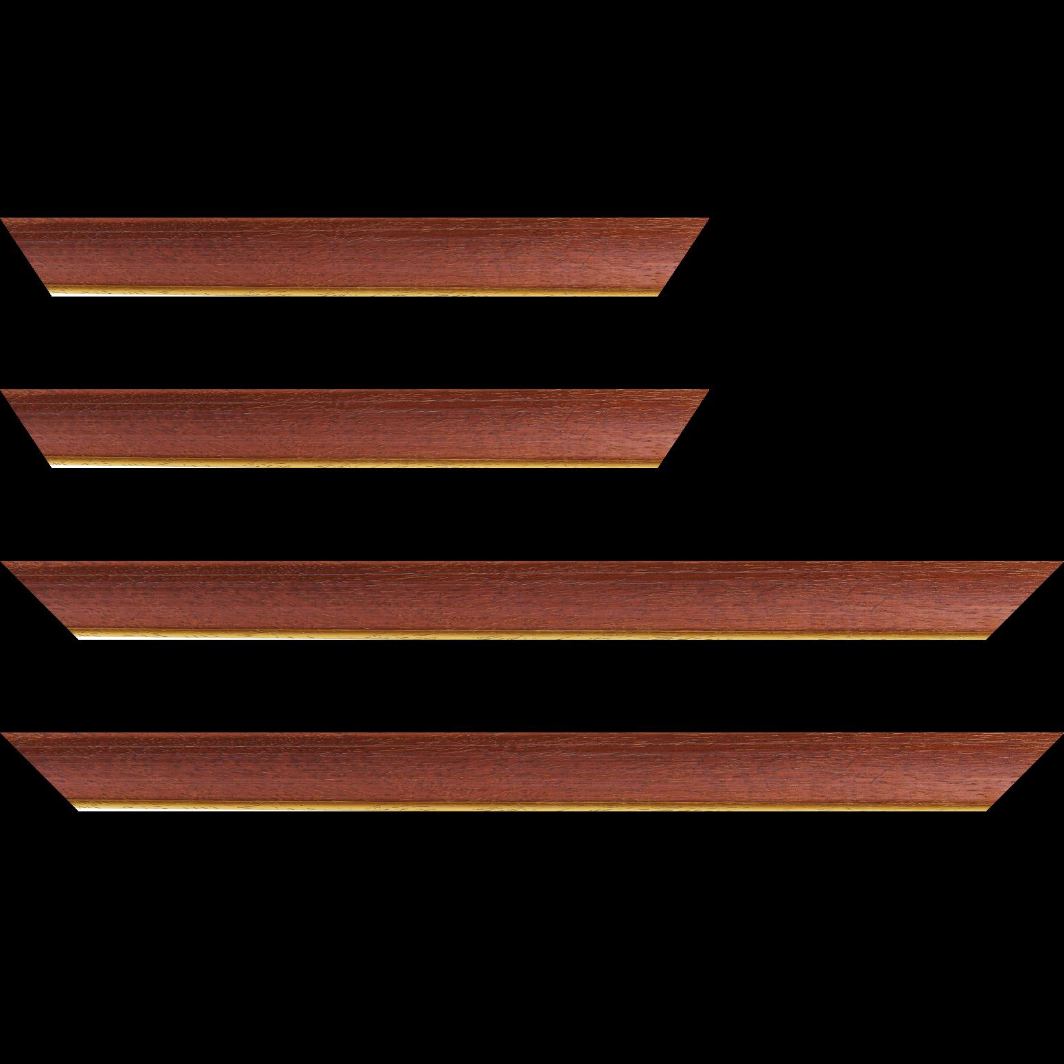 Baguette service précoupé Bois profil incurvé largeur 3.9cm couleur acajou satiné filet or