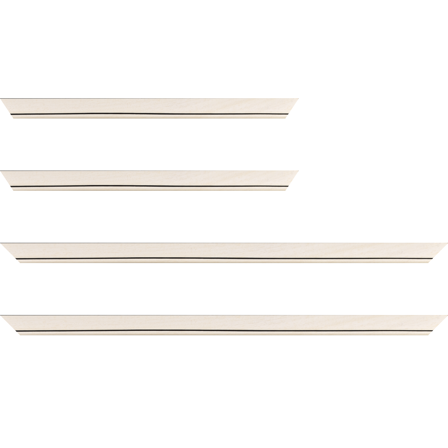 Baguette service précoupé bois profil bombé largeur 2.4cm couleur crème satiné filet noir