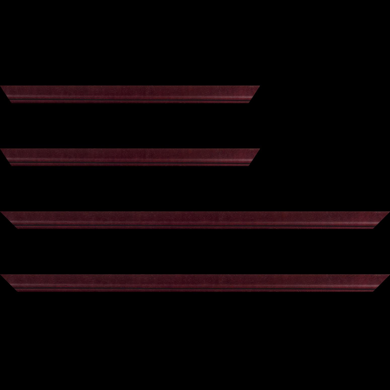 Baguette service précoupé bois profil bombé largeur 2.4cm couleur bordeaux lie de vin filet noir