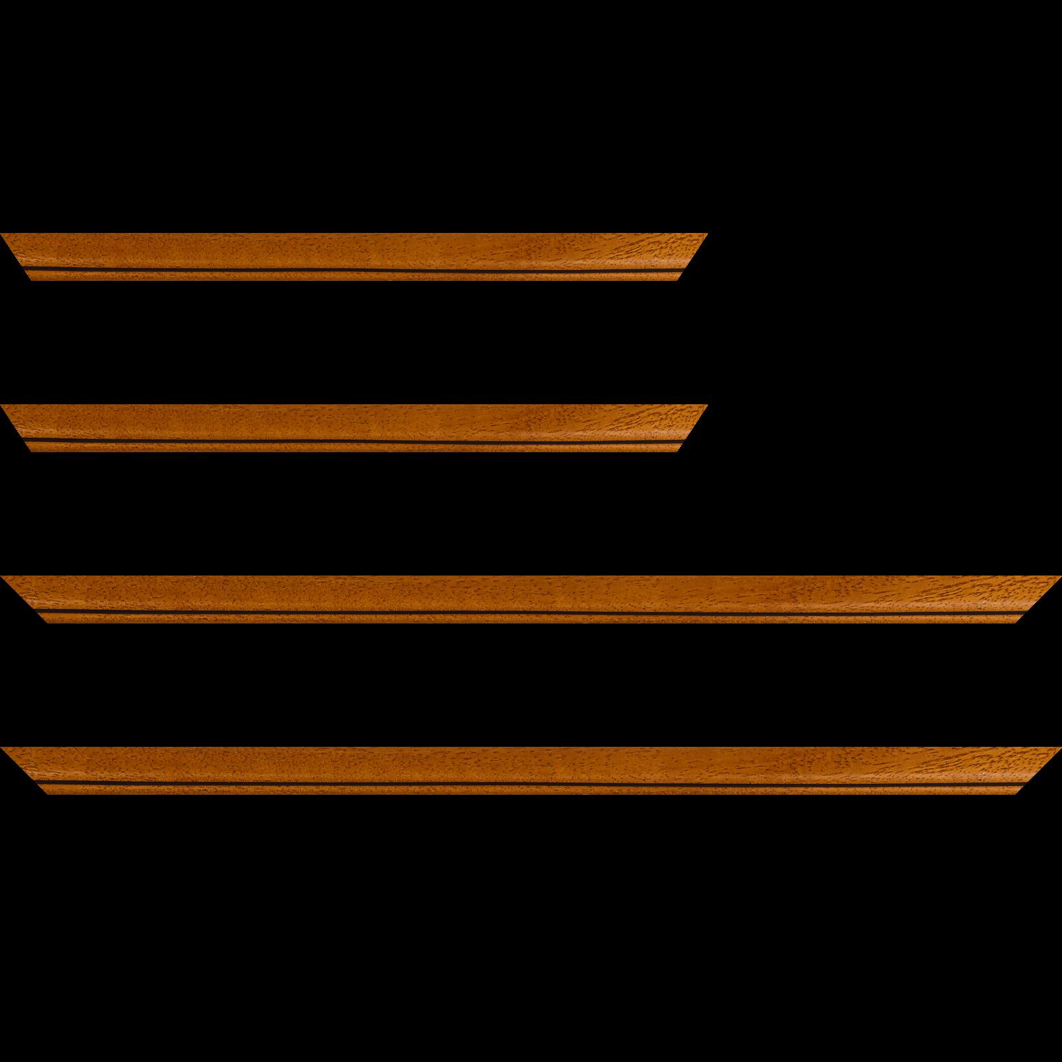 Baguette service précoupé bois profil bombé largeur 2.4cm couleur marron ton bois satiné filet noir