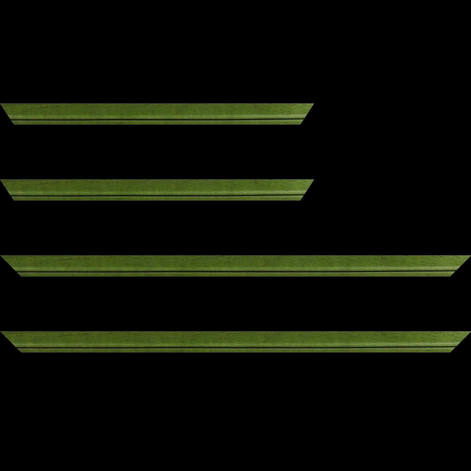 Baguette service précoupé bois profil bombé largeur 2.4cm couleur vert sapin satiné filet noir