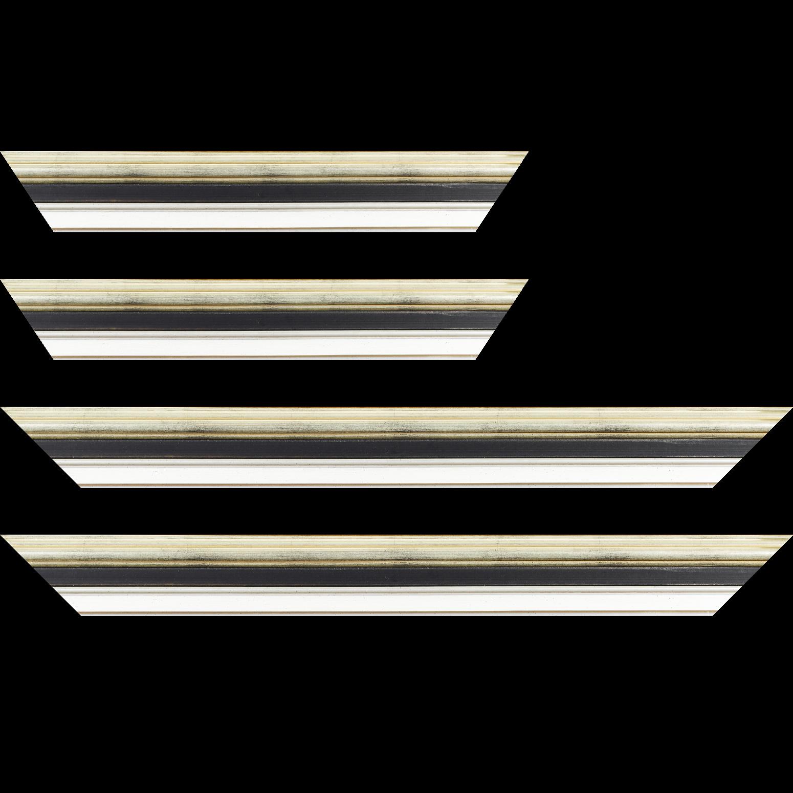 Baguette service précoupé Bois largeur 5.2cm argent gorge noire  marie louise blanche  filet argent intégrée