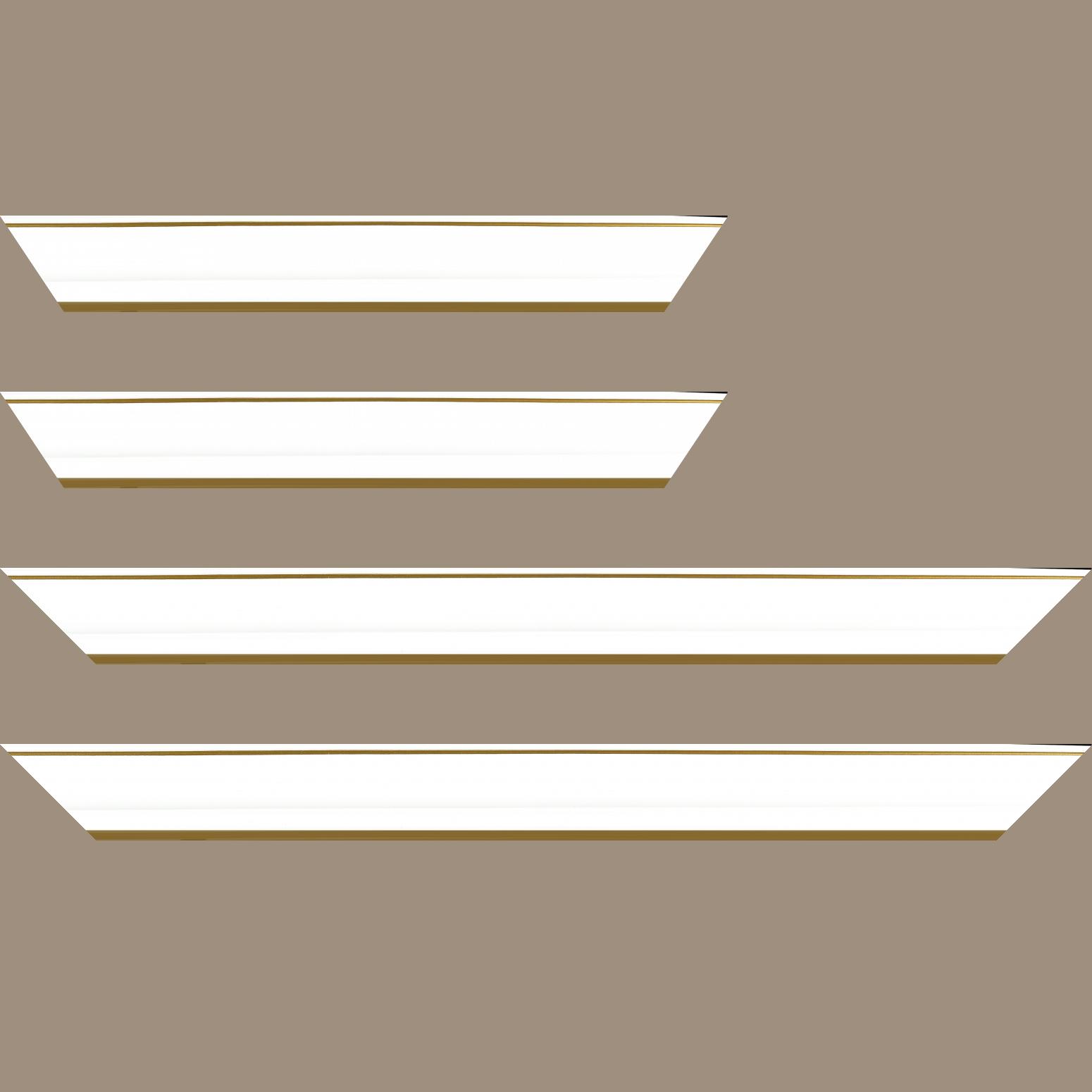 Baguette service précoupé Bois profil doucine inversée largeur 4.4cm  couleur blanc satiné filet or