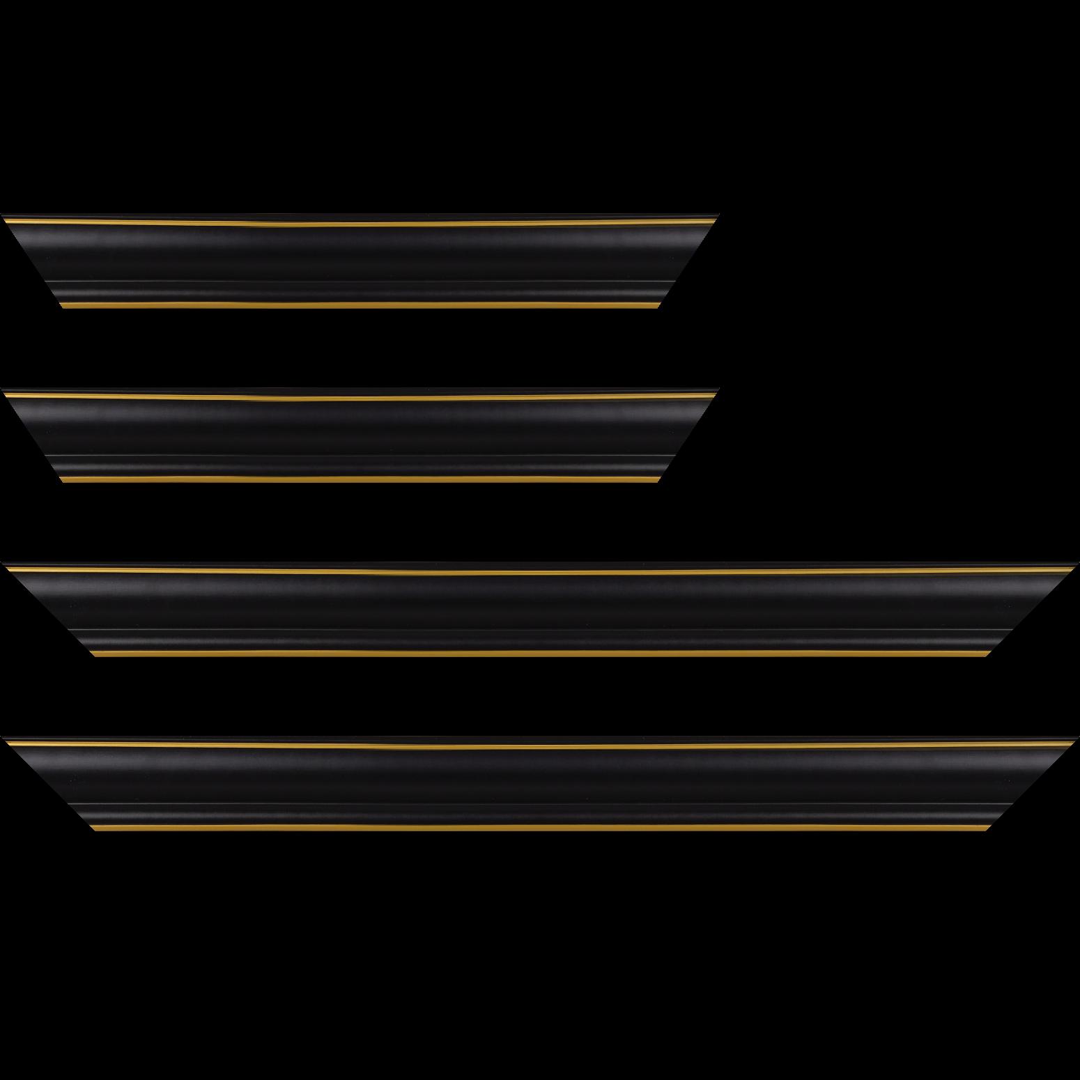 Baguette service précoupé Bois profil doucine inversée largeur 4.4cm  couleur noire satiné filet or