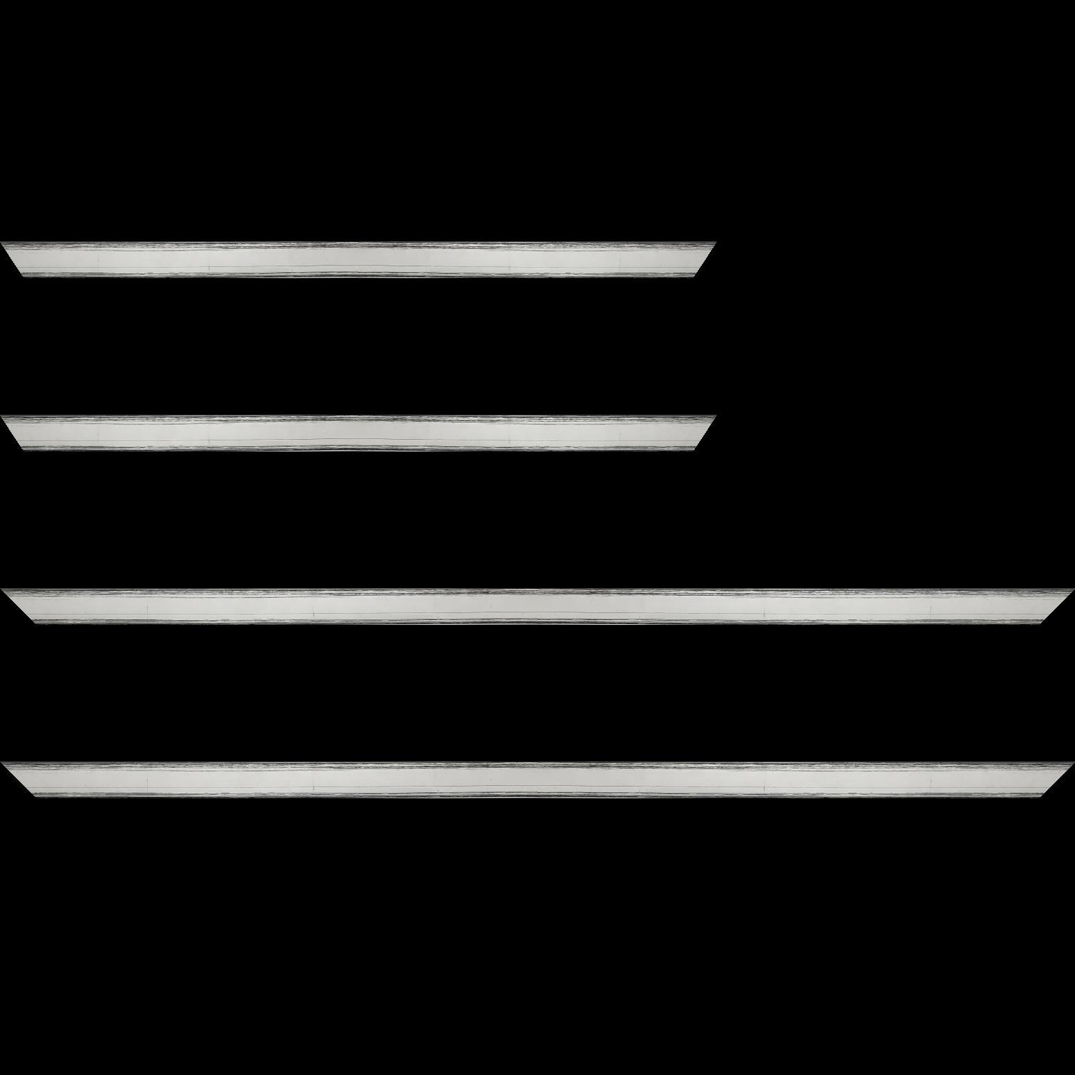 Baguette service précoupé Bois profil plat largeur 2.1cm hauteur 3.8cm couleur argent coté extérieur foncé. finition haut de gamme car dorure à l'eau fait main