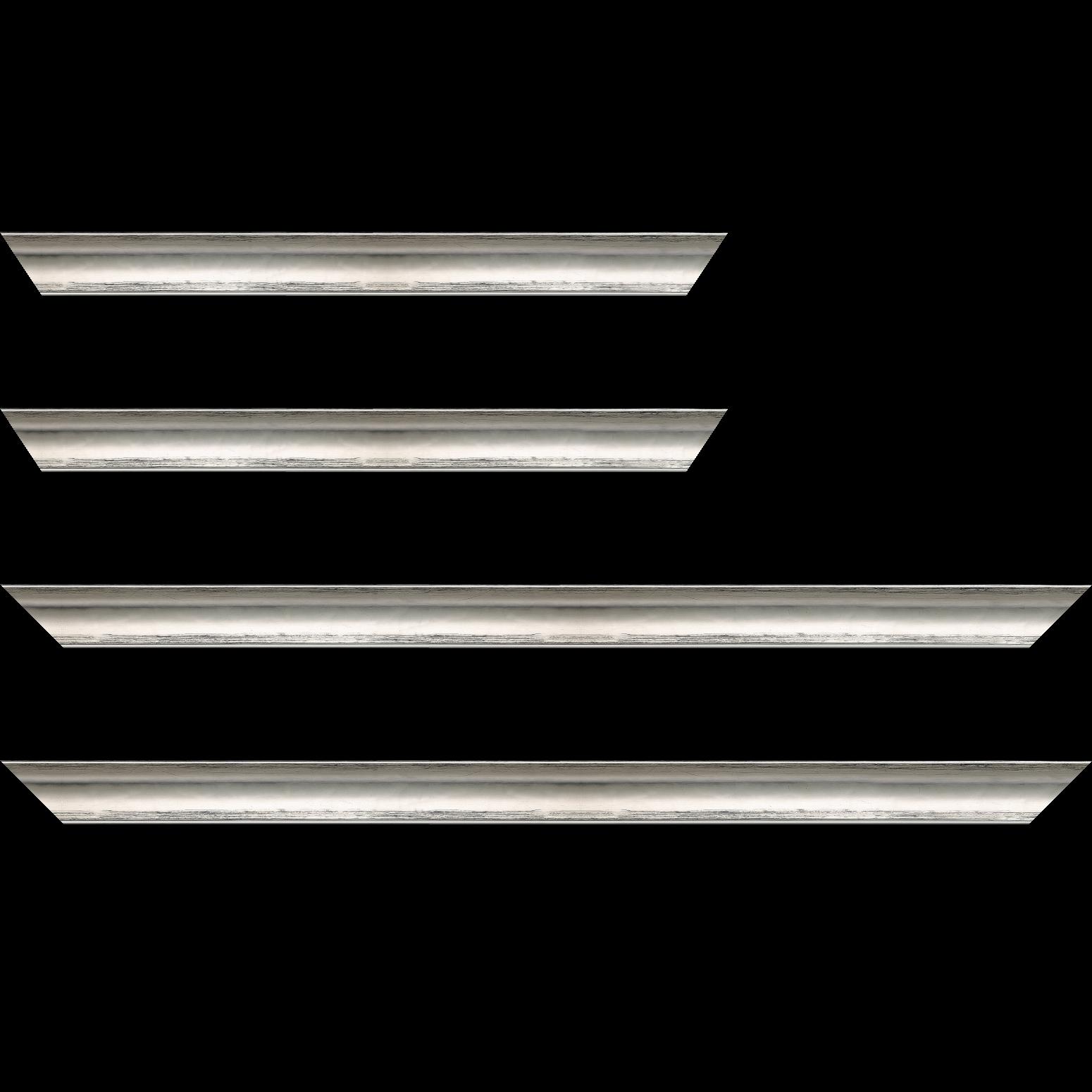 Baguette service précoupé Bois profil concave largeur 3cm couleur argent coté extérieur foncé. finition haut de gamme car dorure à l'eau fait main