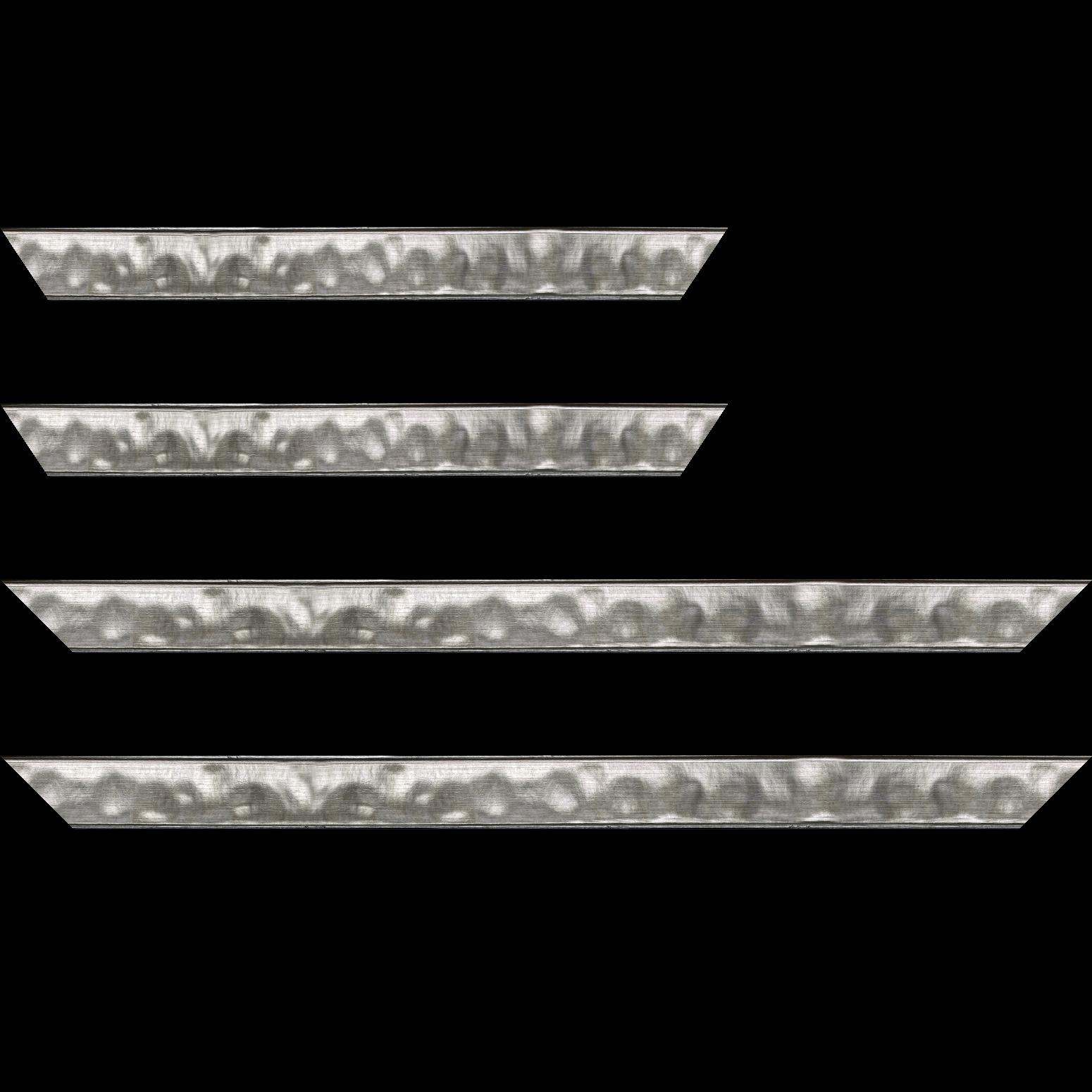 Baguette service précoupé Bois profil en pente bosselé largeur 3.3cm couleur argent