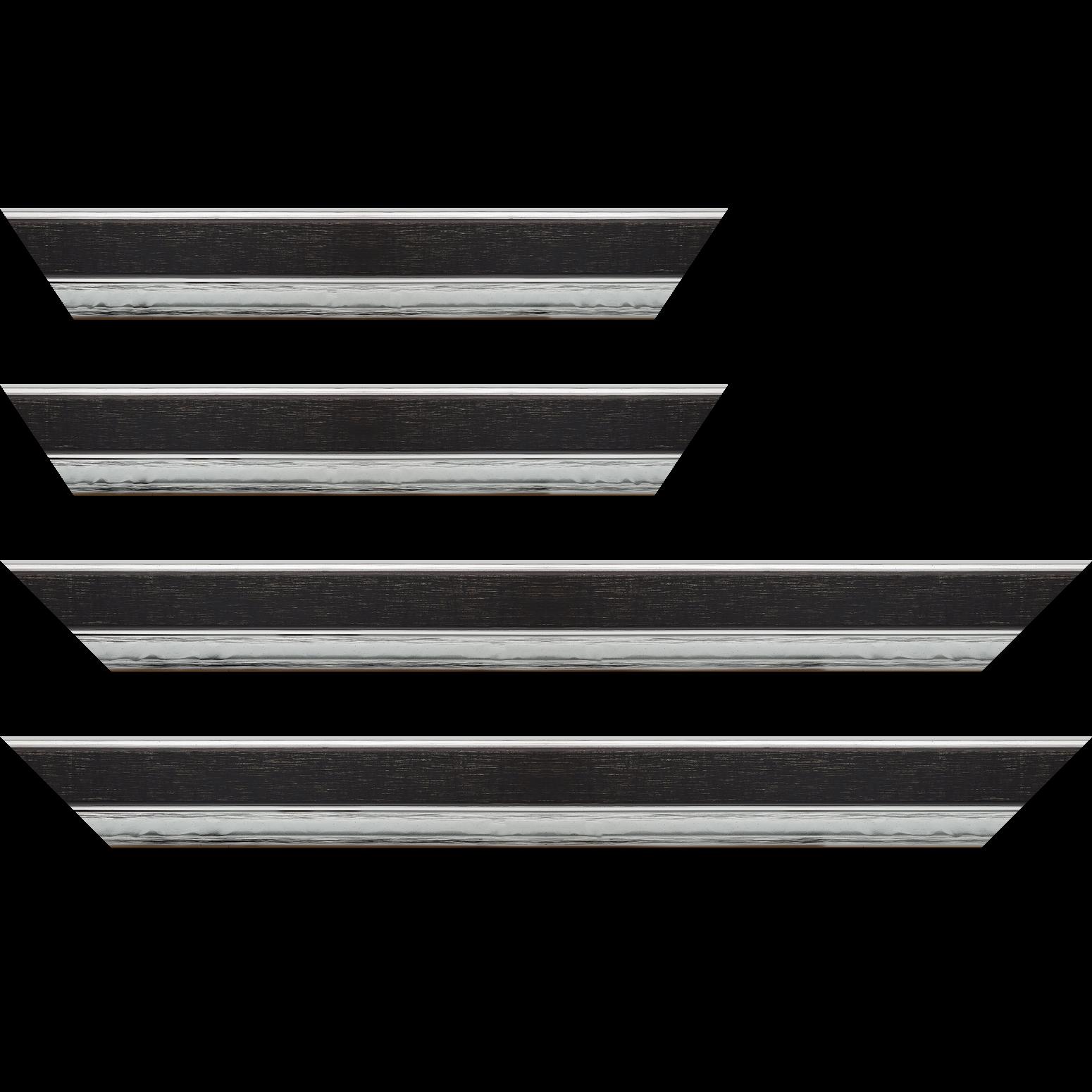 Baguette service précoupé Bois profil plat largeur 5cm couleur noir nez argent chromé bosselé