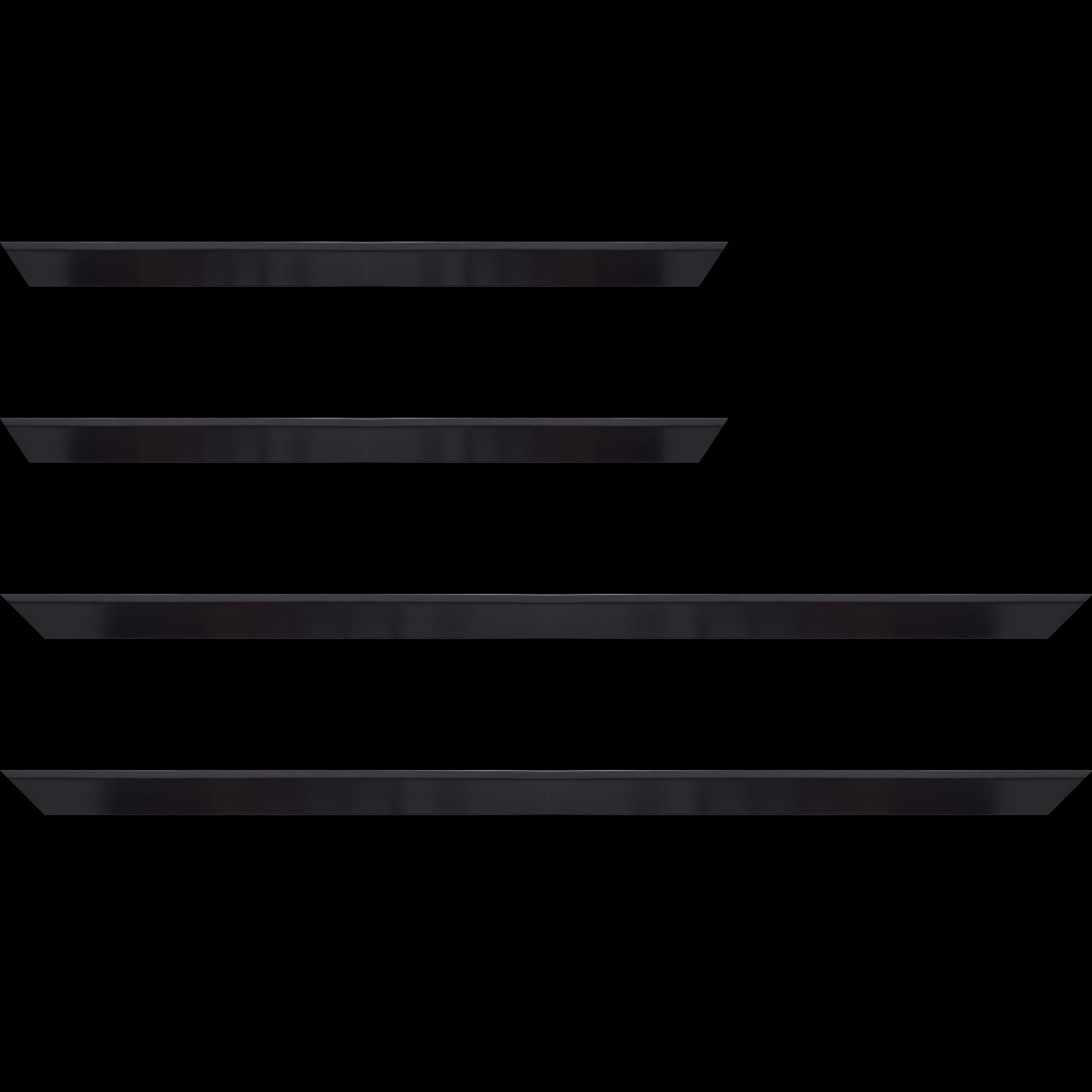 Baguette service précoupé Bois profil en pente plongeant largeur 2.2cm couleur noir mat pore bouché