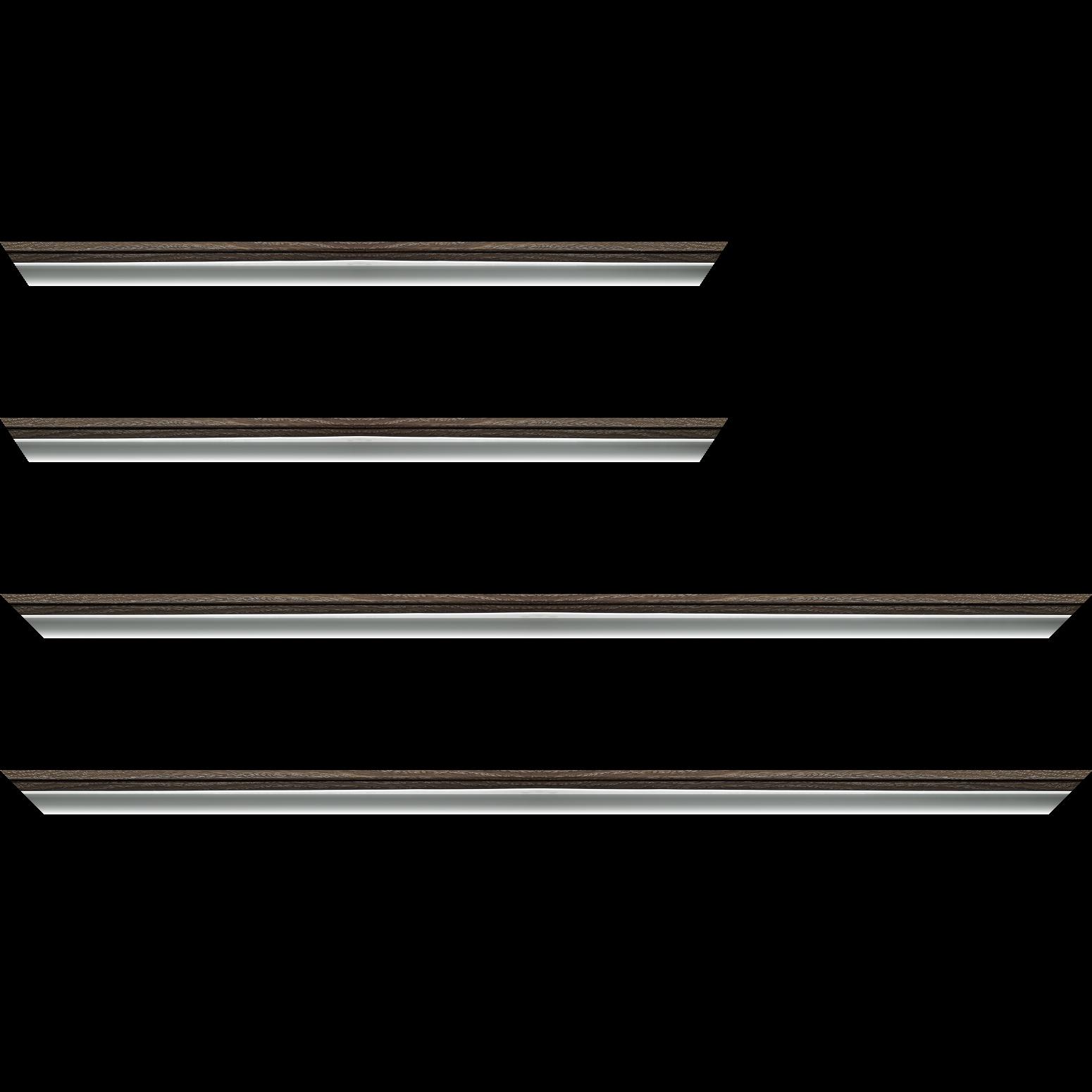 Baguette service précoupé Bois profil plat largeur 2.4cm  argent chromé décor chêne anthracite  extérieur