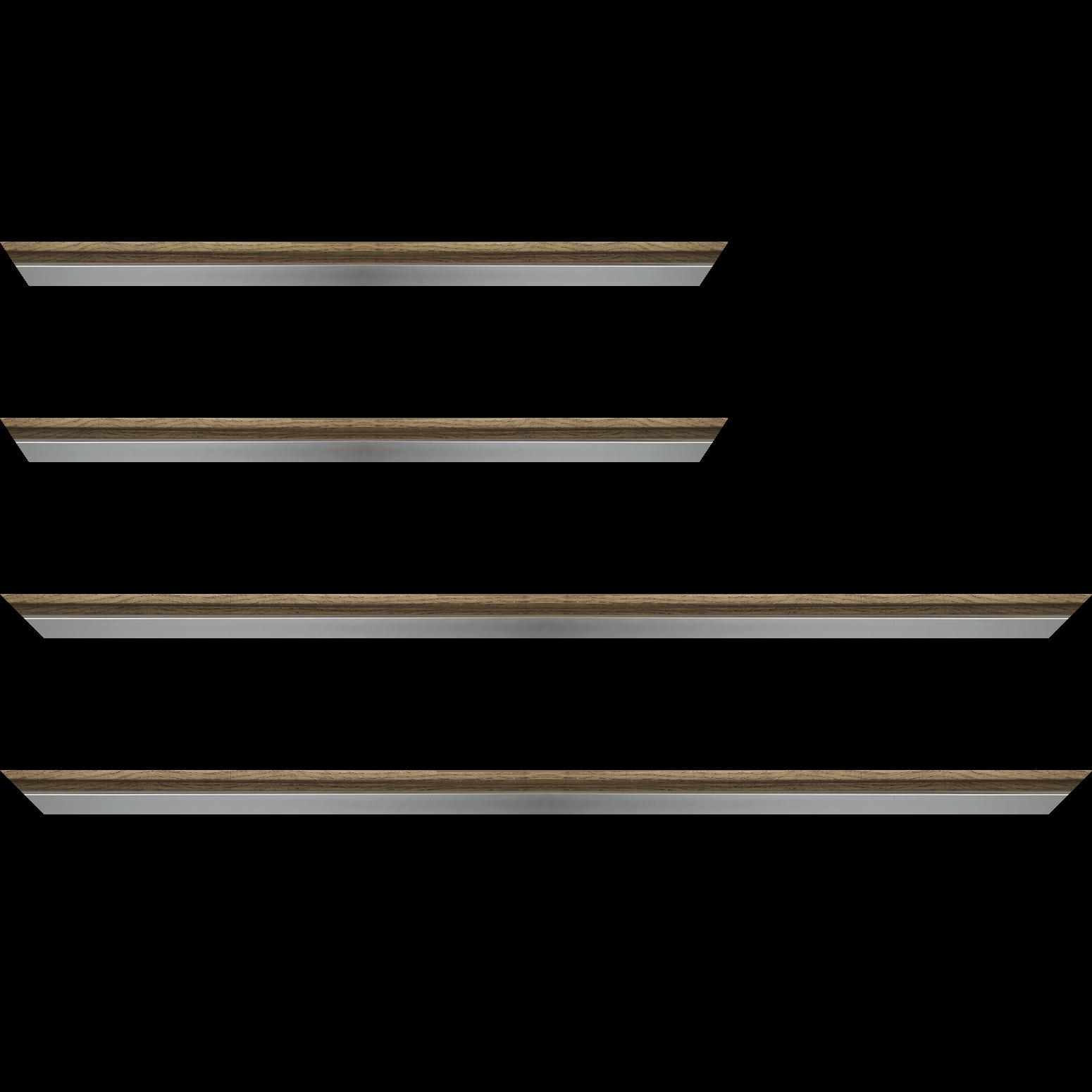 Baguette service précoupé Bois profil plat largeur 2.4cm  argent chromé décor chêne foncé extérieur