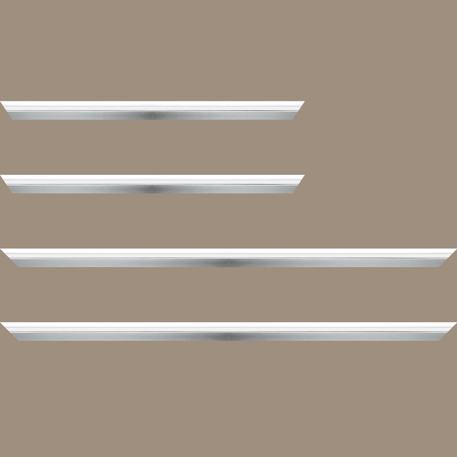 Baguette service précoupé Bois profil plat largeur 2.4cm  argent chromé couleur blanc extérieur