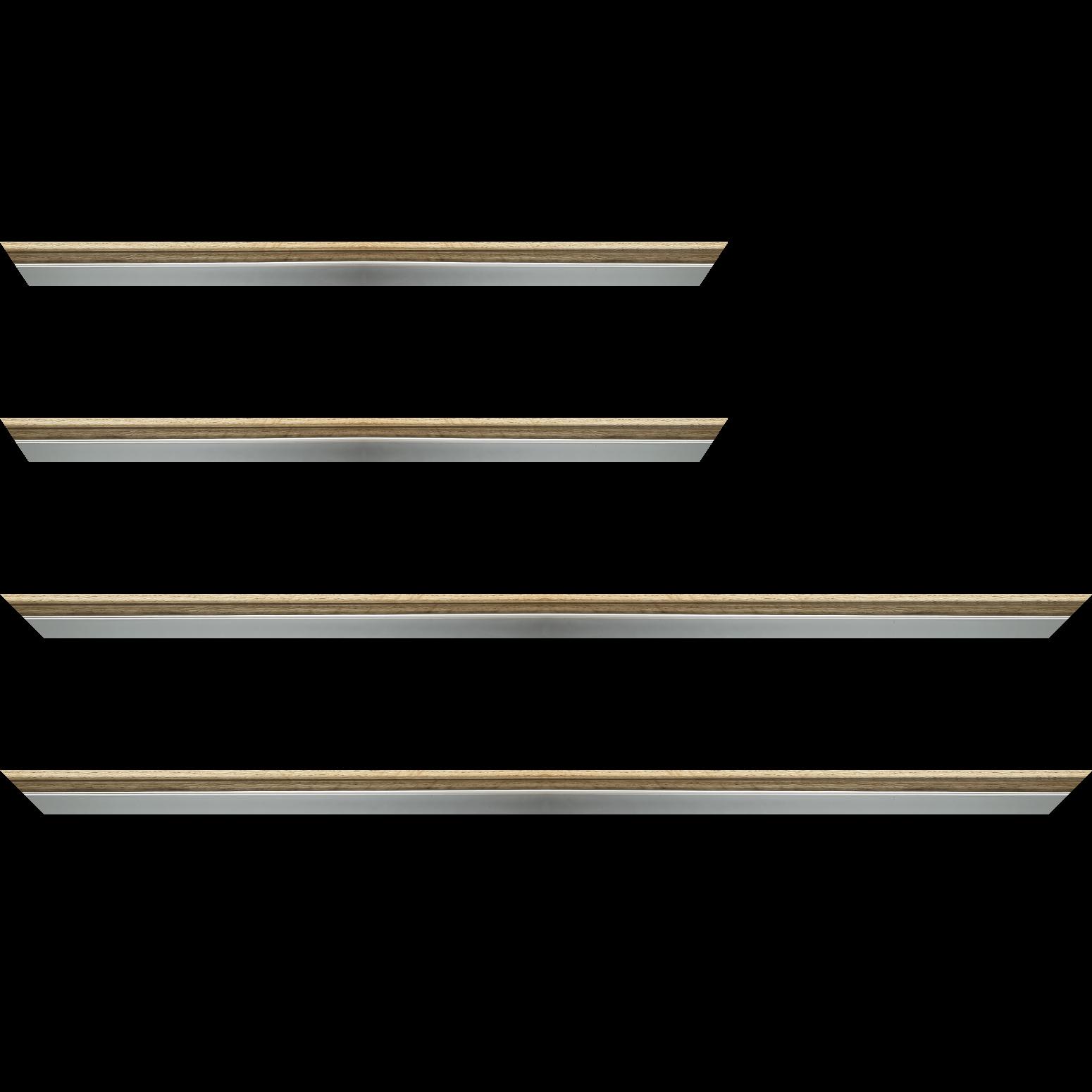 Baguette service précoupé Bois profil plat largeur 2.4cm  argent chromé décor chêne naturel extérieur
