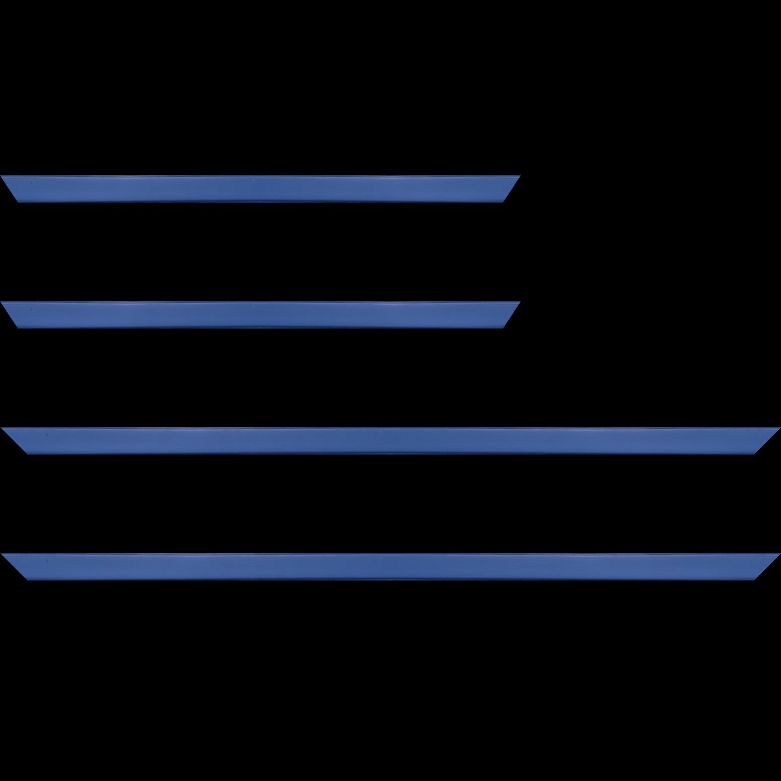 Baguette service précoupé Bois profil plat effet cube largeur 1.7cm couleur bleu grec satiné
