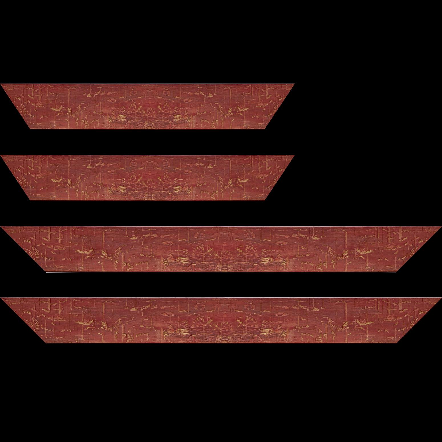 Baguette service précoupé Bois profil plat largeur 5cm couleur bordeaux finition bois brut aspect palette