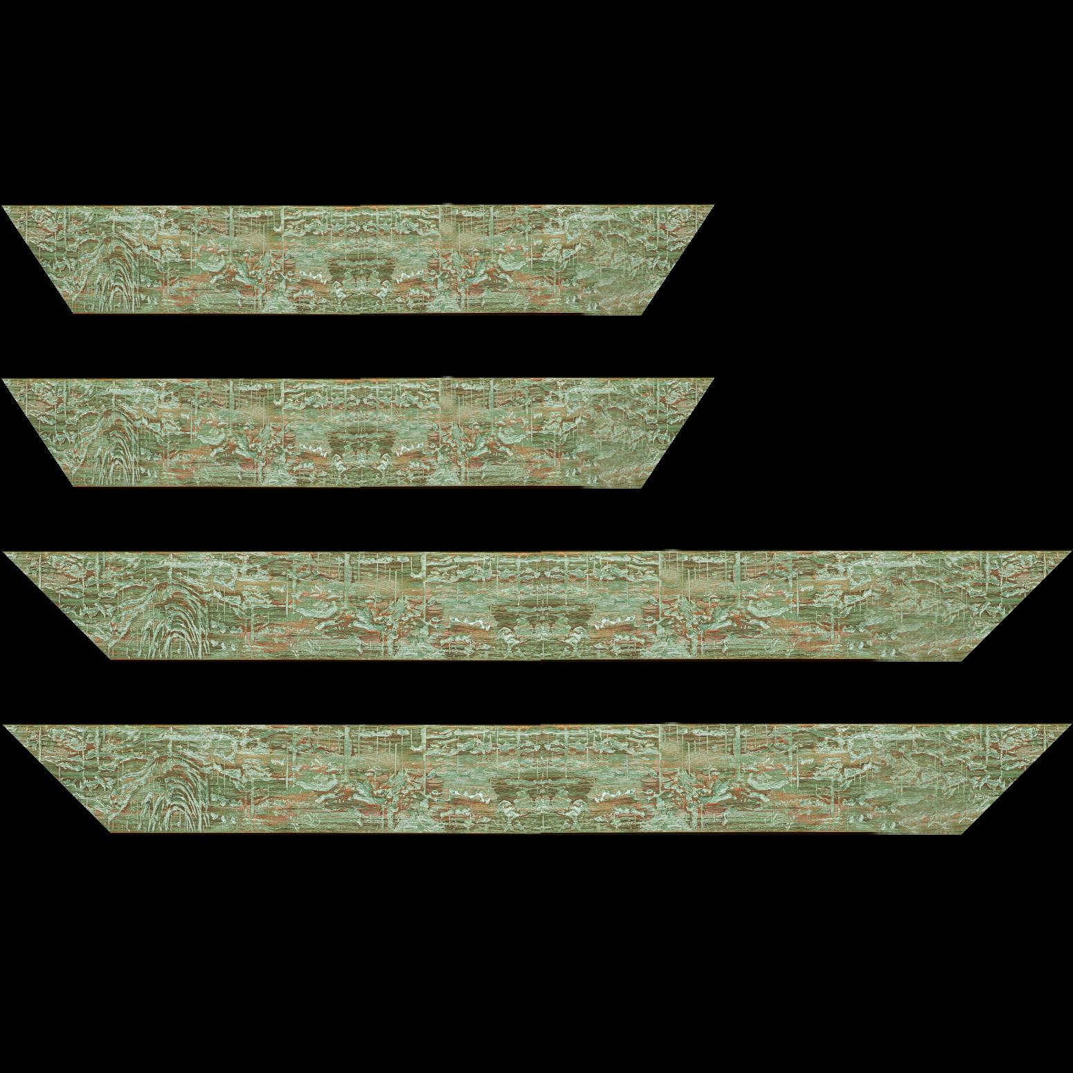 Baguette service précoupé Bois profil plat largeur 5cm couleur vert finition bois brut aspect palette