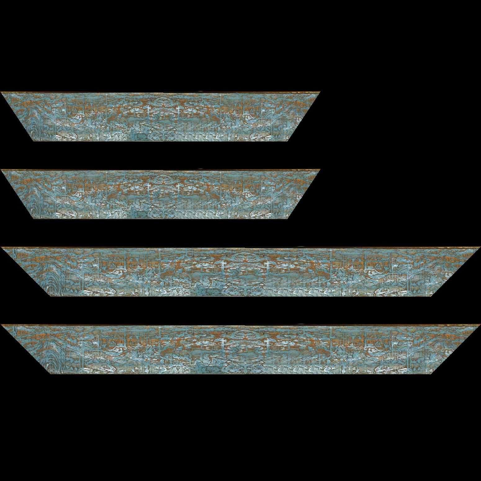 Baguette service précoupé Bois profil plat largeur 5cm couleur bleu turquoise finition bois brut aspect palette